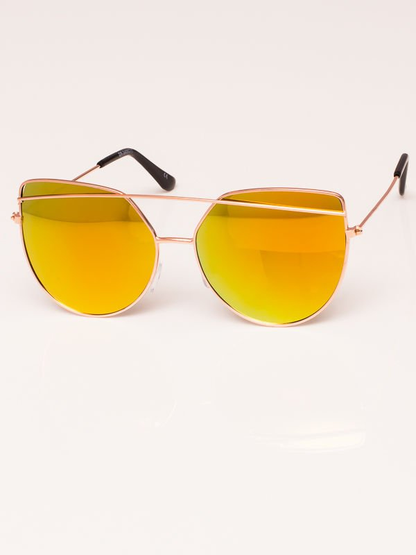 Okulary przeciwsłoneczne damskie lustrzanki srebrne Szkło bursztynowo złote