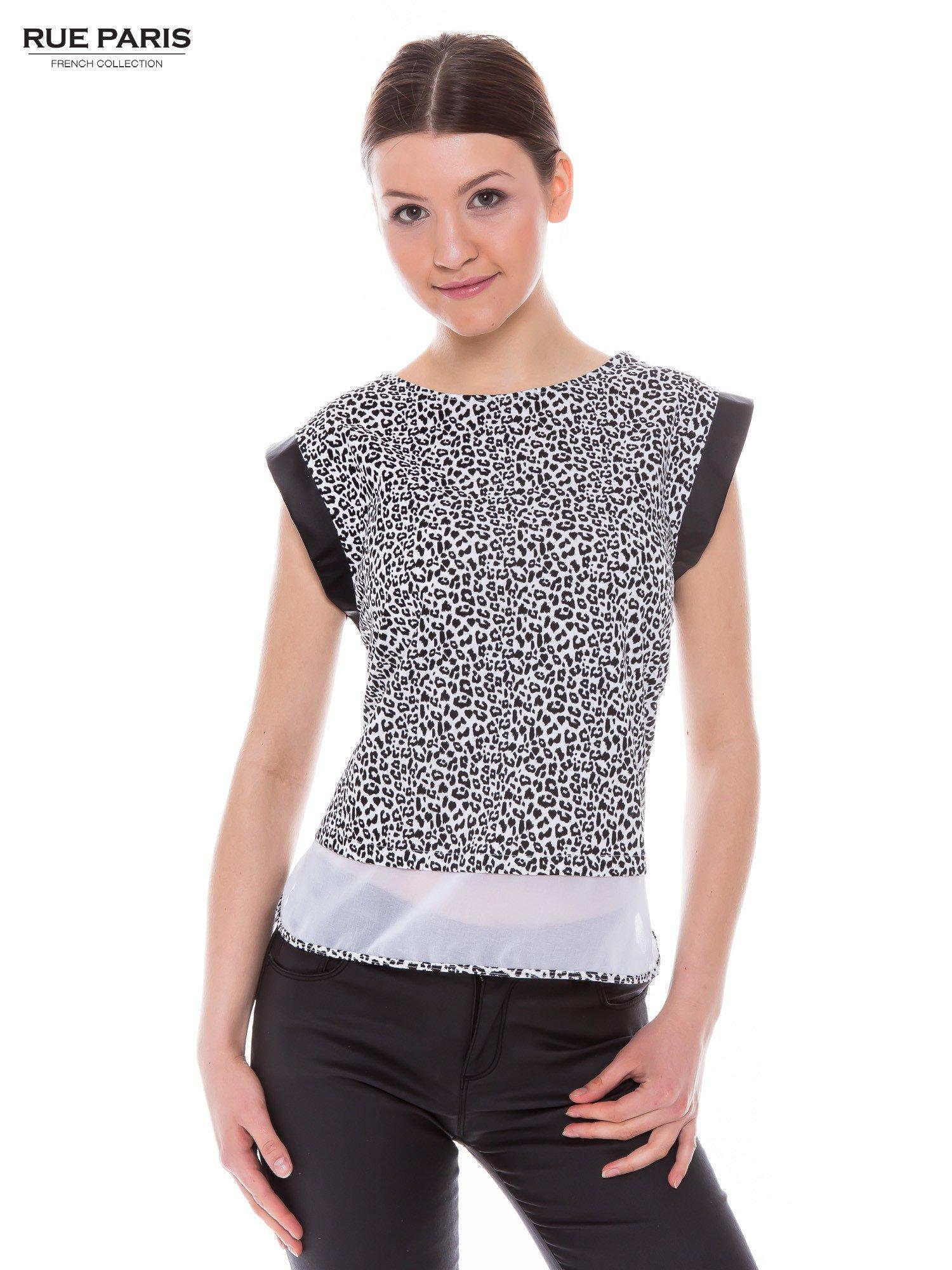 Panterkowy t-shirt ze skórzanymi rękawami i siateczkowym dołem                                  zdj.                                  1