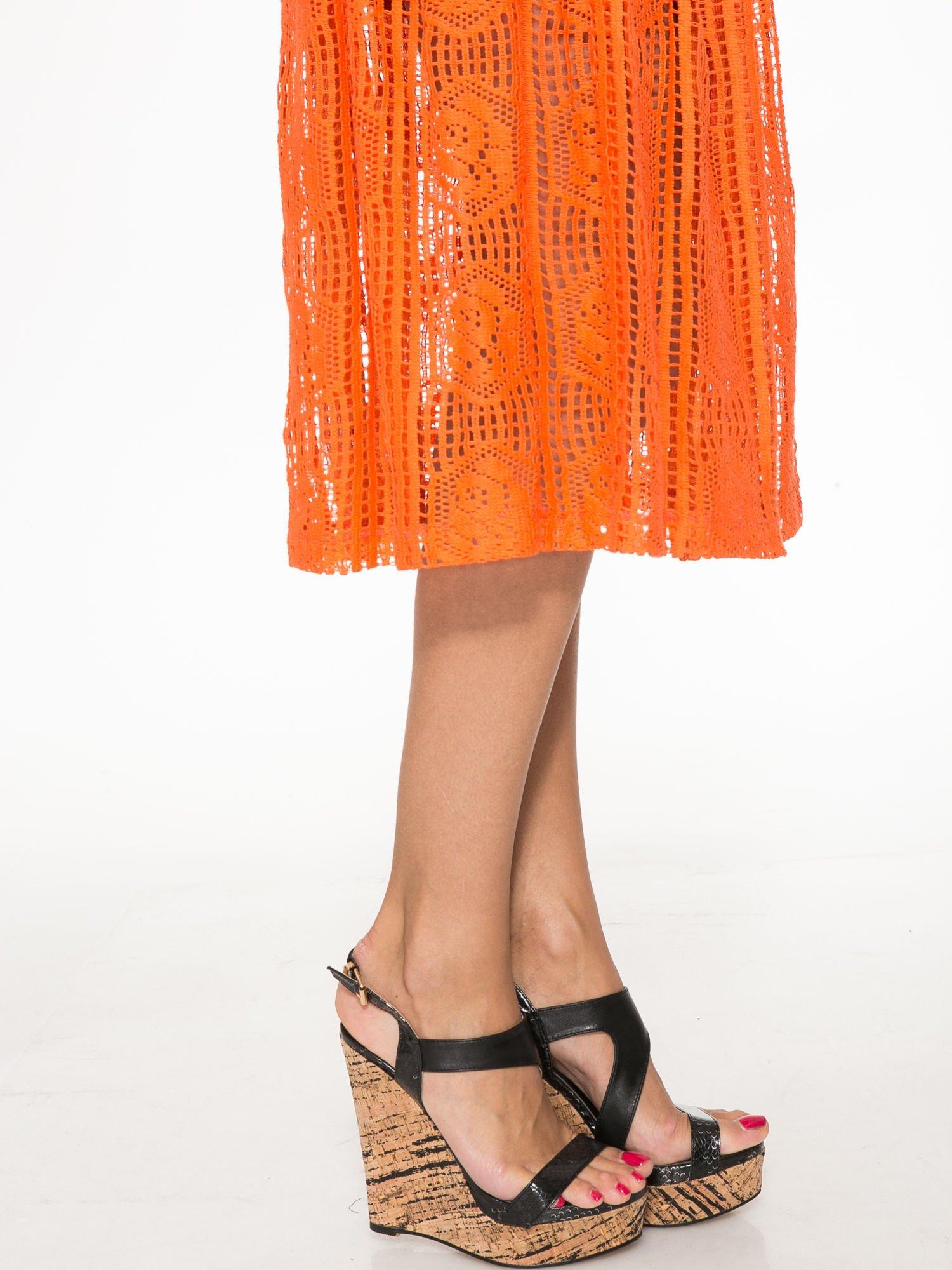 Pomarańczowa ażurowa spódnica midi                                  zdj.                                  8