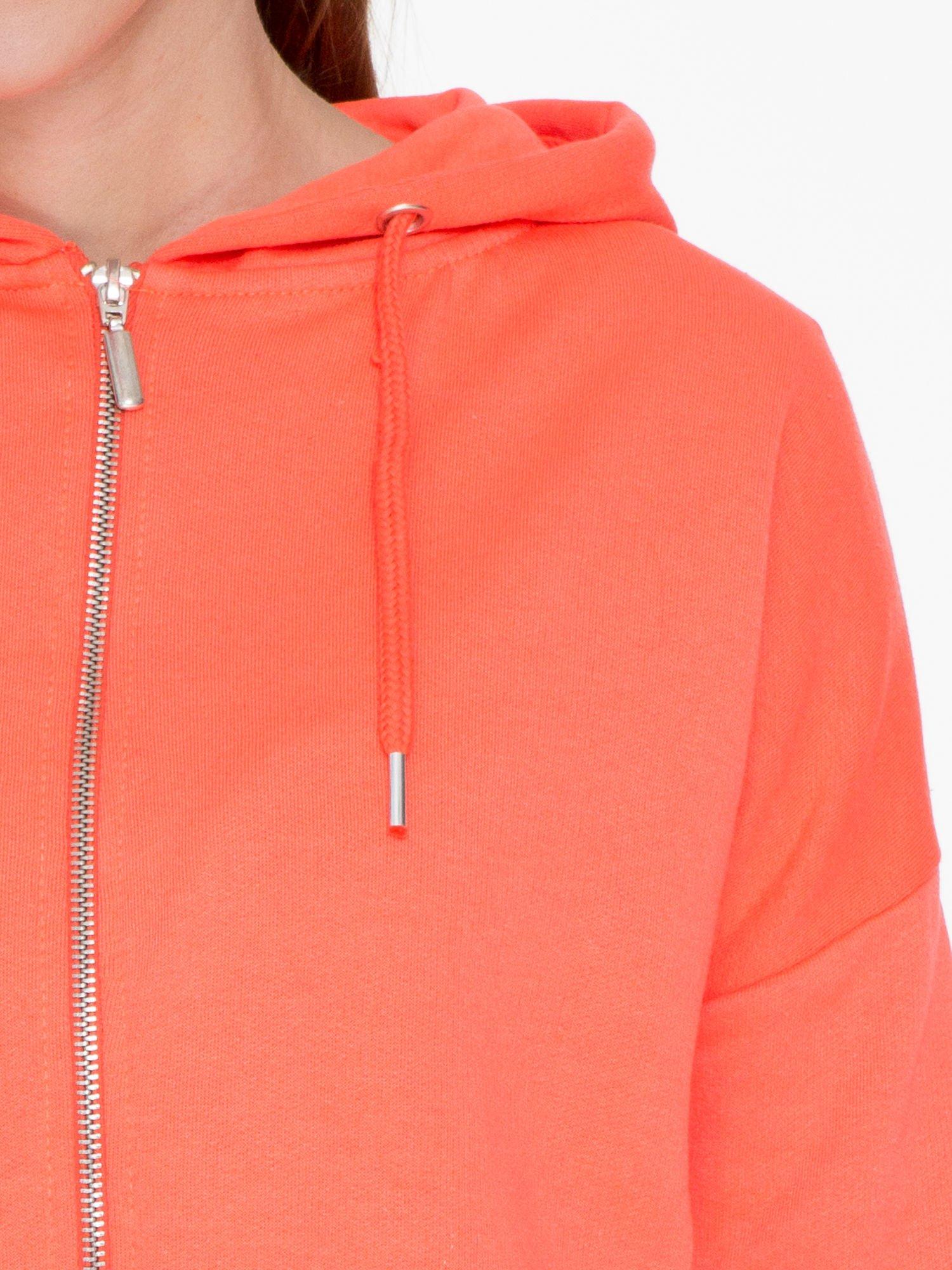 Pomarańczowa bluza damska z kapturem zasuwana na suwak                                  zdj.                                  5