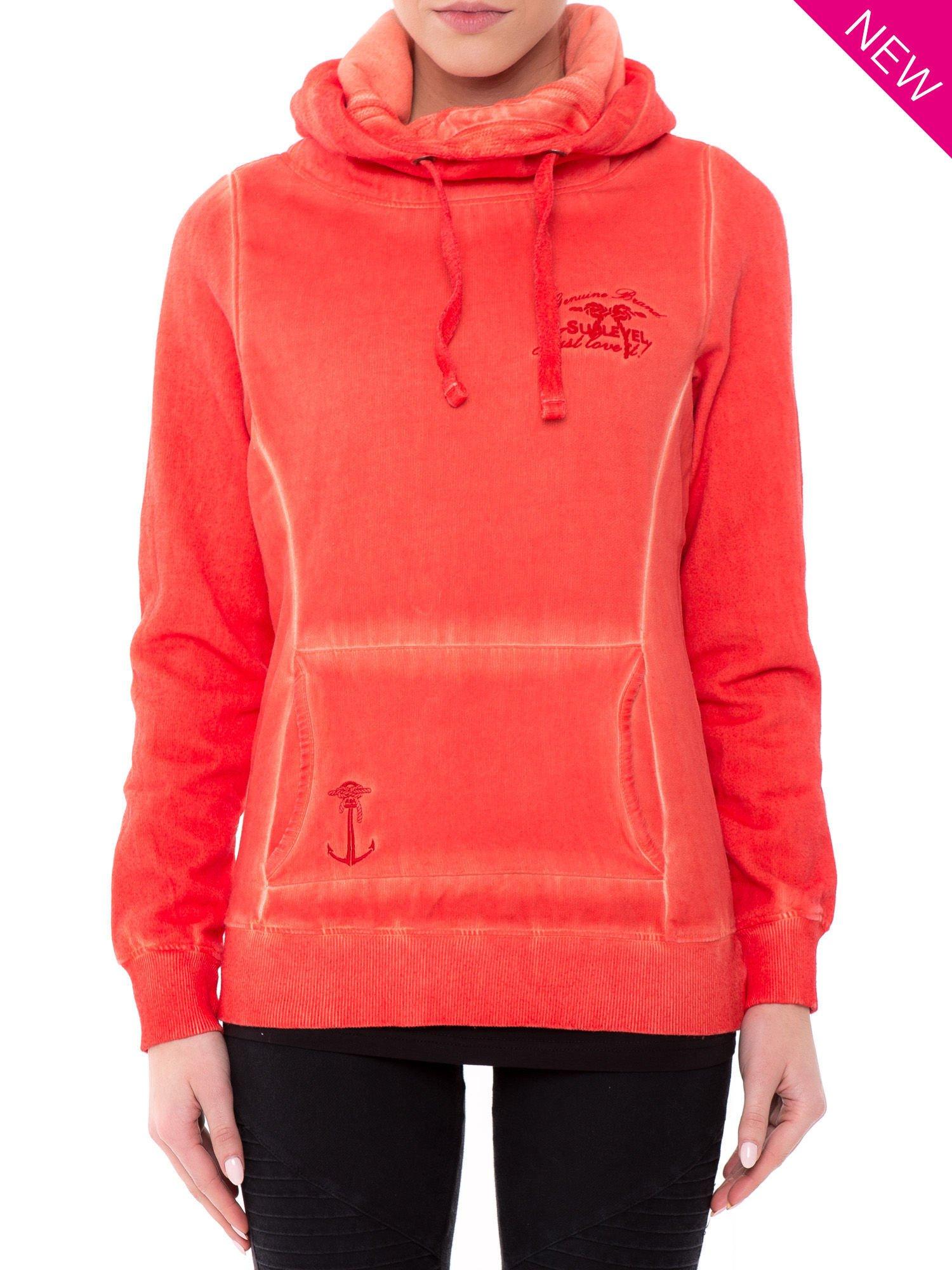 Pomarańczowa bluza z kapturem z efektem sprania                                  zdj.                                  4