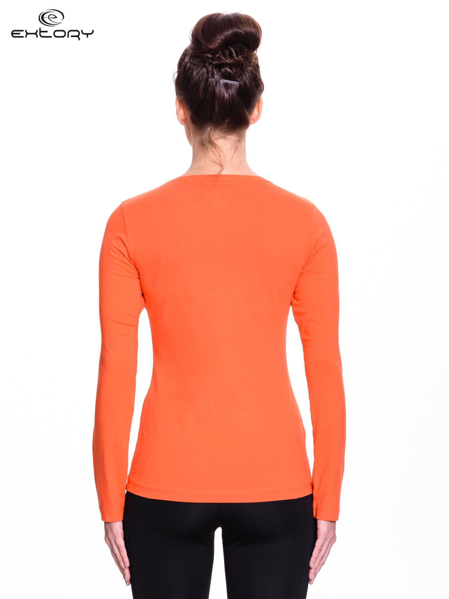 Pomarańczowa bluzka sportowa z dekoltem V                                  zdj.                                  4