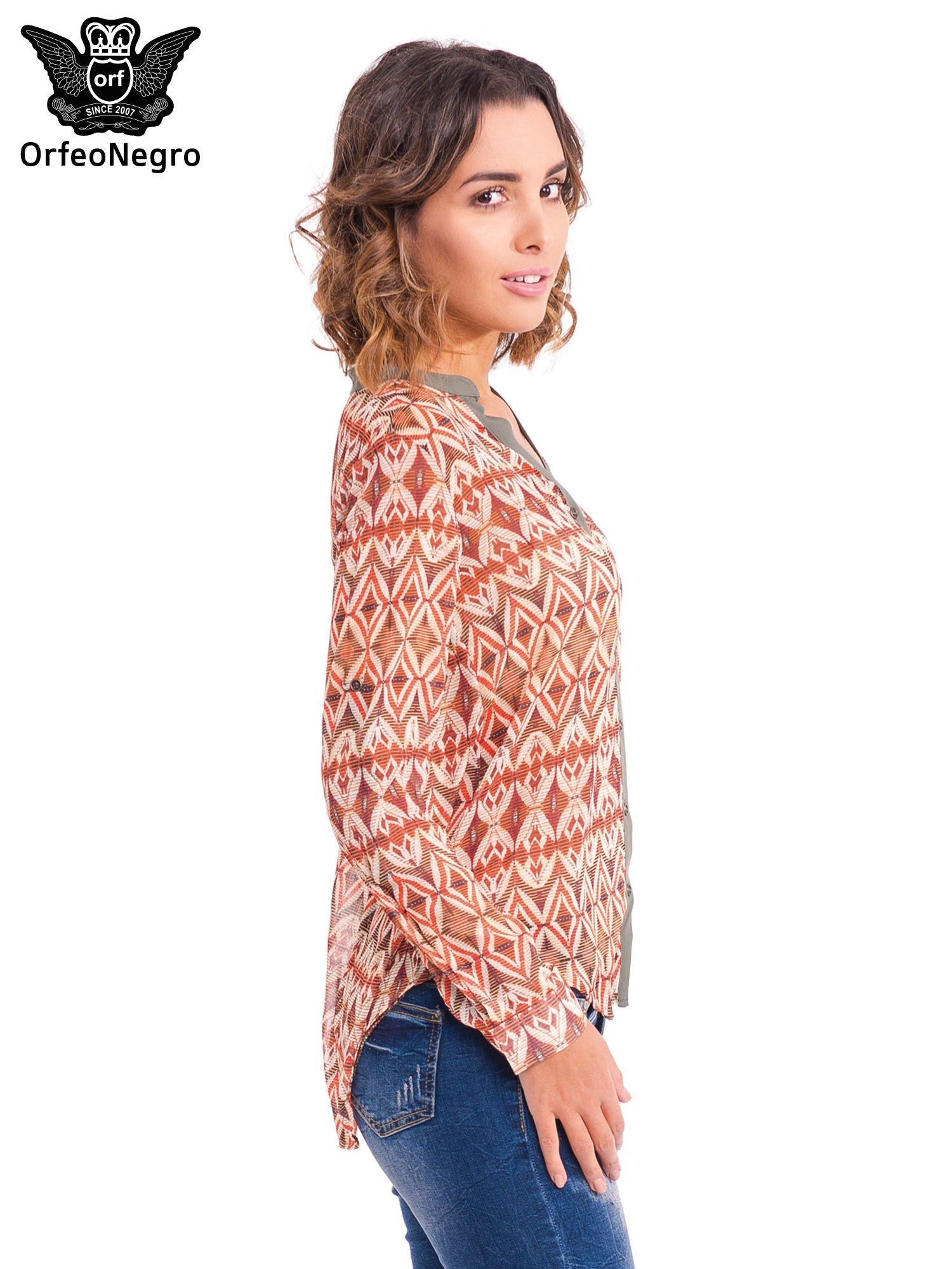 Pomarańczowa koszula w etniczne wzory z kontrastową listwą                                  zdj.                                  3