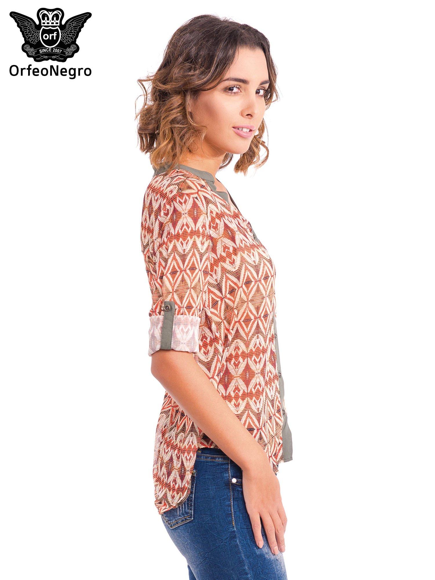Pomarańczowa koszula w etniczne wzory z kontrastową listwą                                  zdj.                                  5