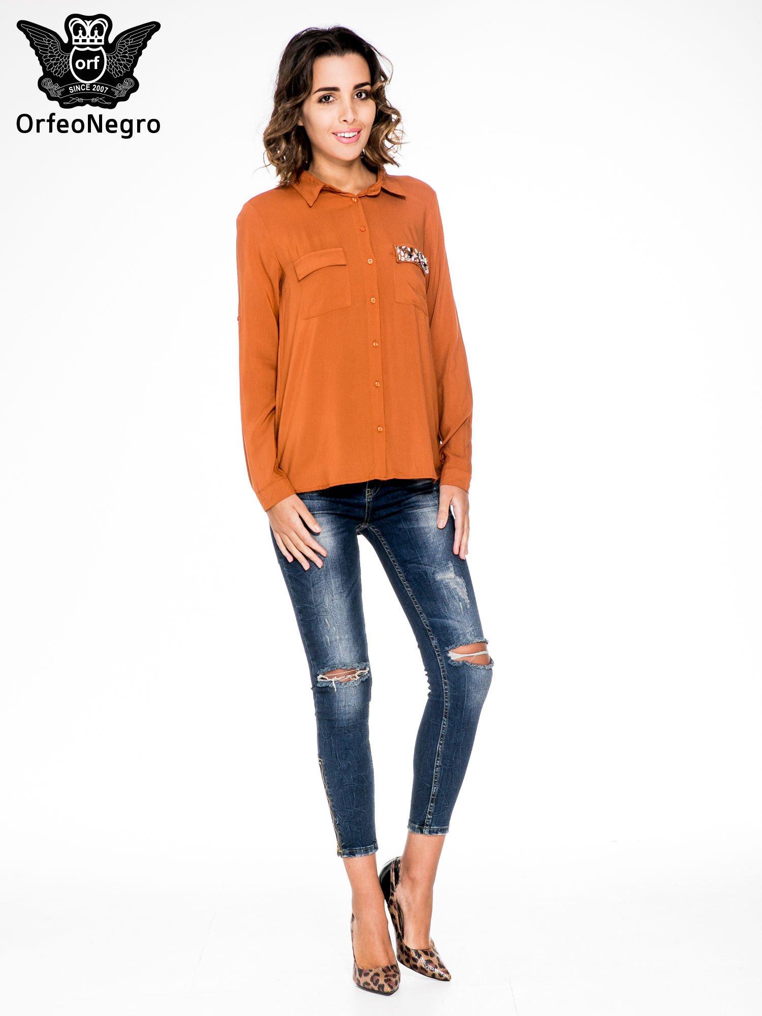 Pomarańczowa koszula z biżuteryjną kieszonką                                  zdj.                                  4