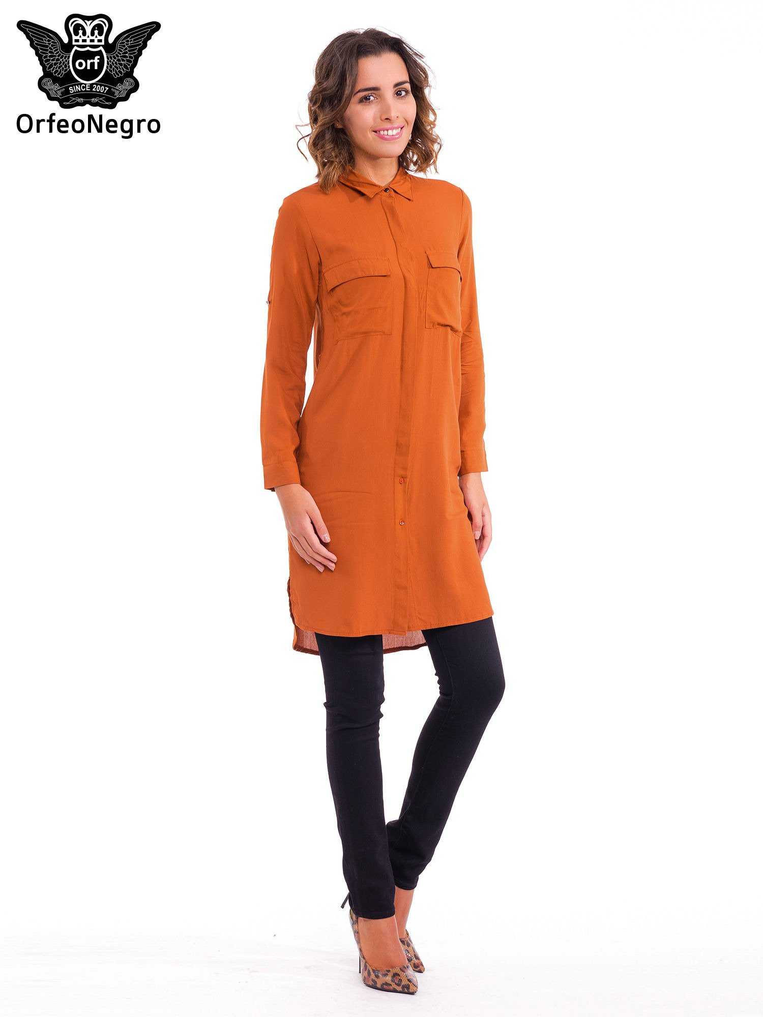 Pomarańczowa koszulotunika z kieszonkami                                  zdj.                                  2