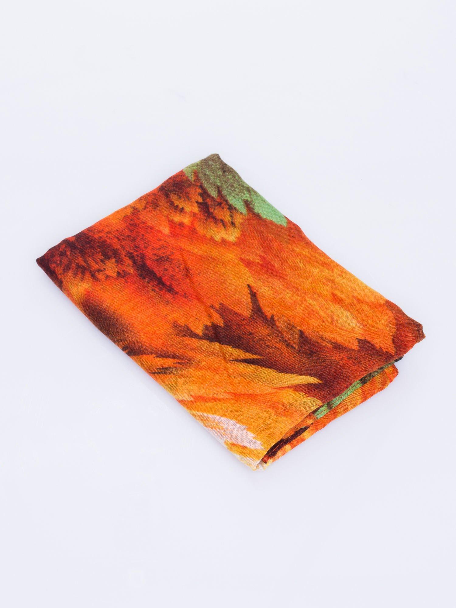 Pomarańczowy komin w malarski wzór w kwiaty                                  zdj.                                  3
