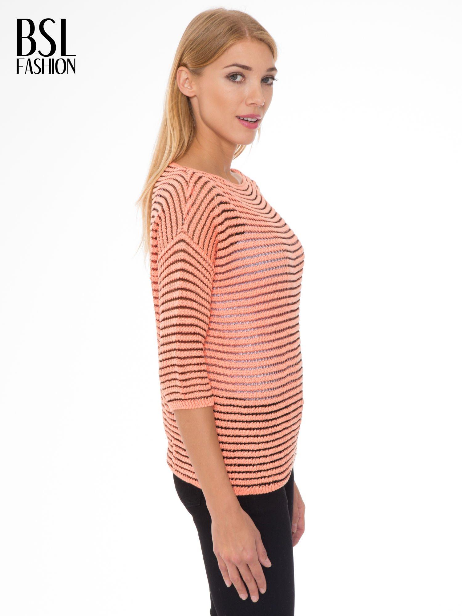 Pomarańczowy półtransparentny sweter w prążki                                  zdj.                                  3