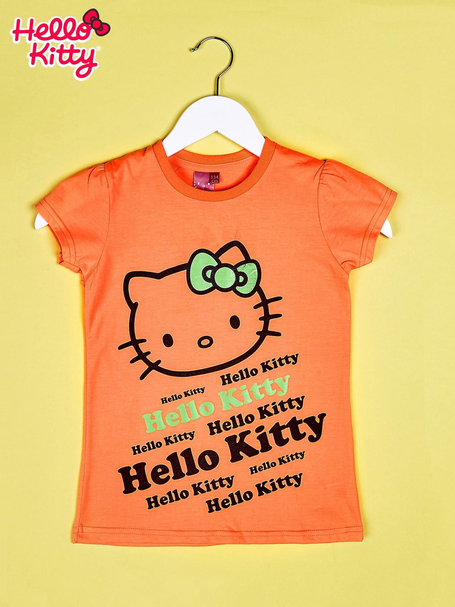 Pomarańczowy t-shirt dla dziewczynki HELLO KITTY                                  zdj.                                  1