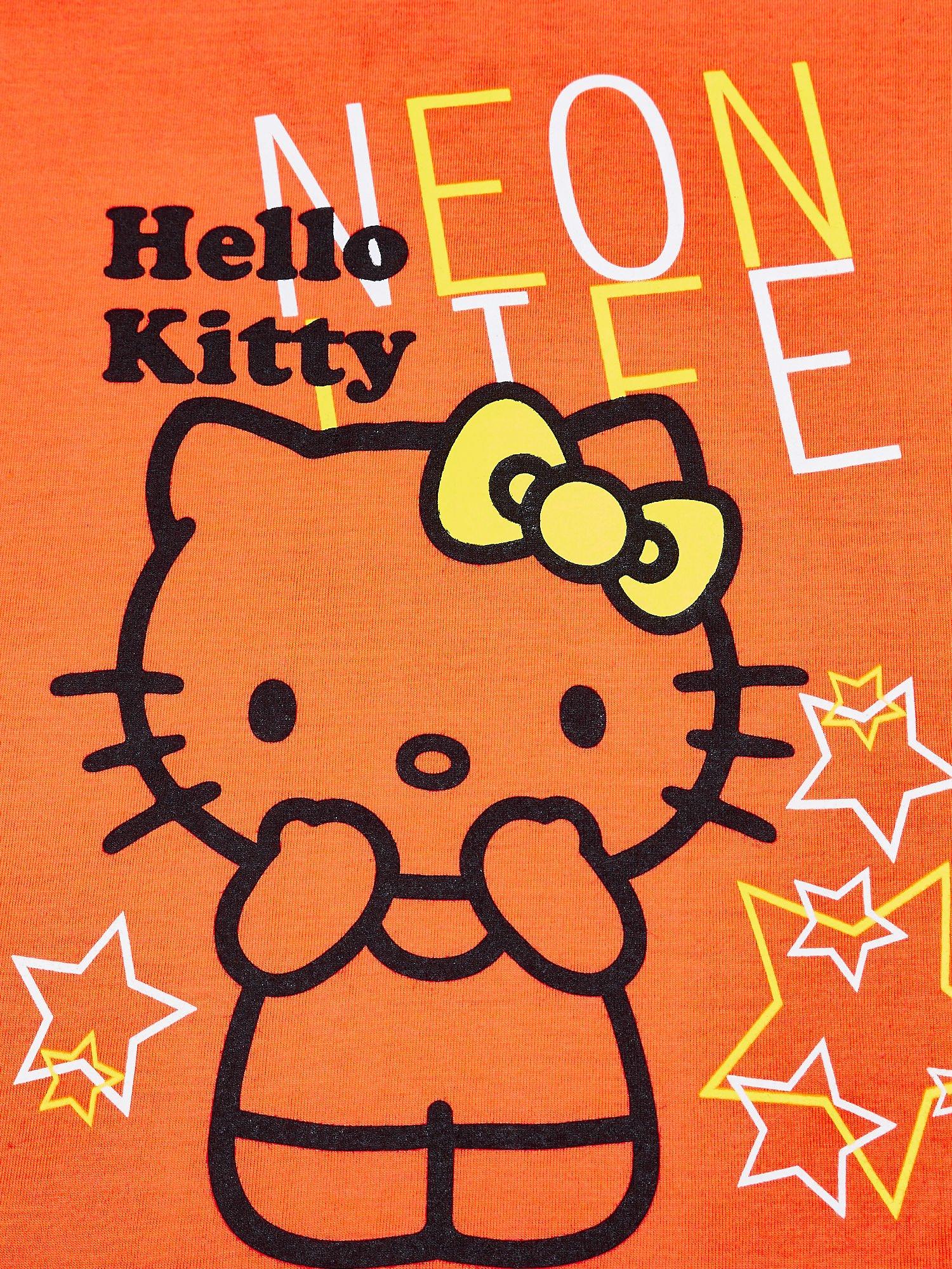 Pomarańczowy t-shirt dla dziewczynki HELLO KITTY z gwiadkami                                  zdj.                                  4