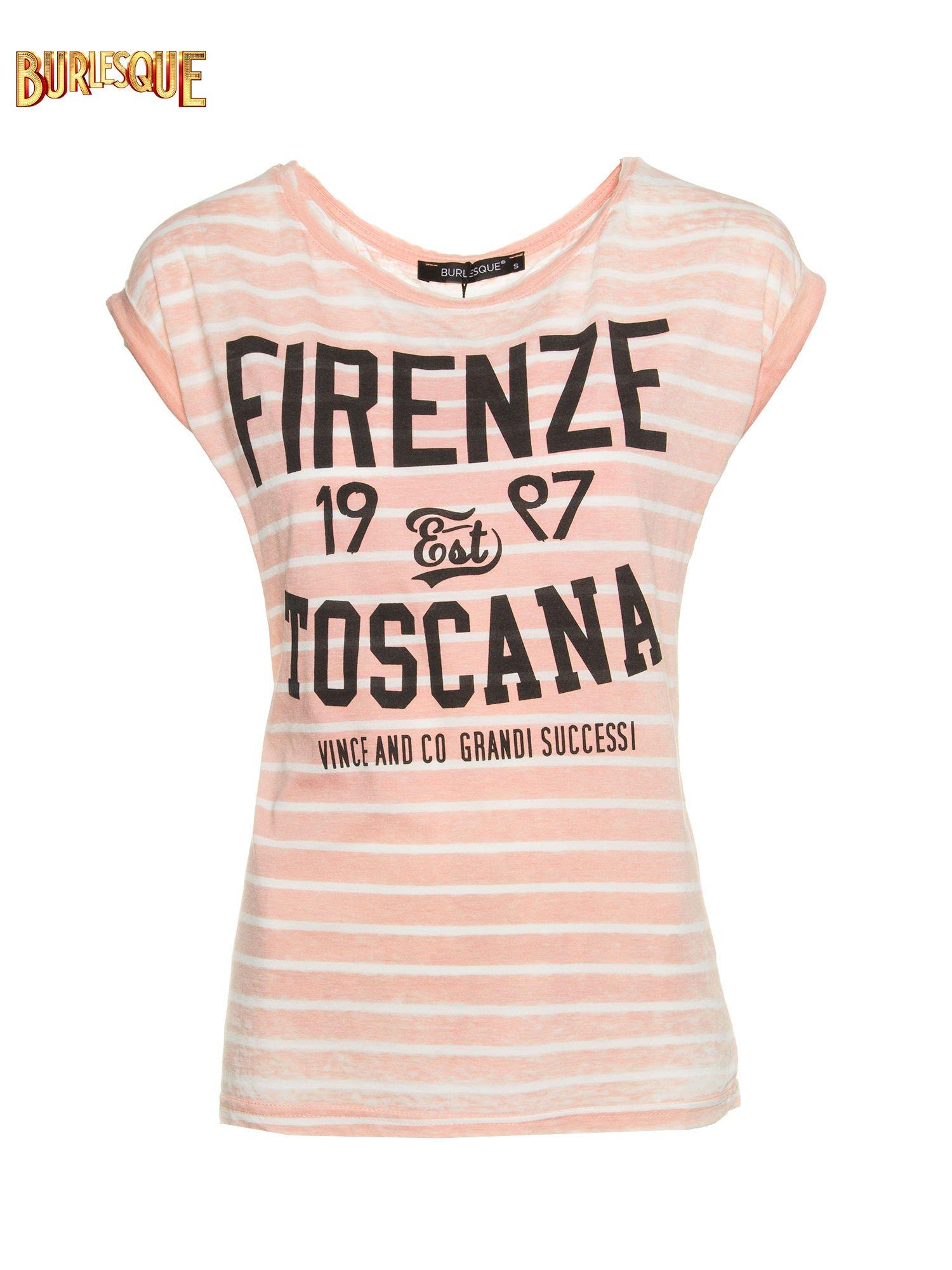Pomarańczowy t-shirt w paski z napisem FIRENZE TOSCANA                                  zdj.                                  1