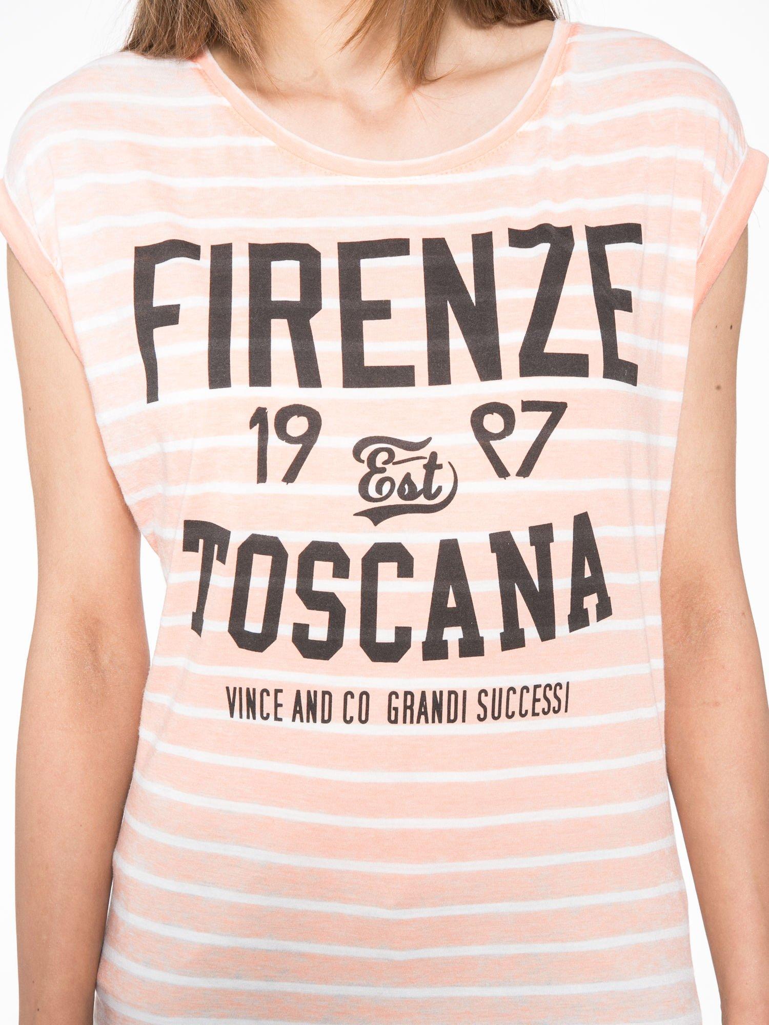 Pomarańczowy t-shirt w paski z napisem FIRENZE TOSCANA                                  zdj.                                  6