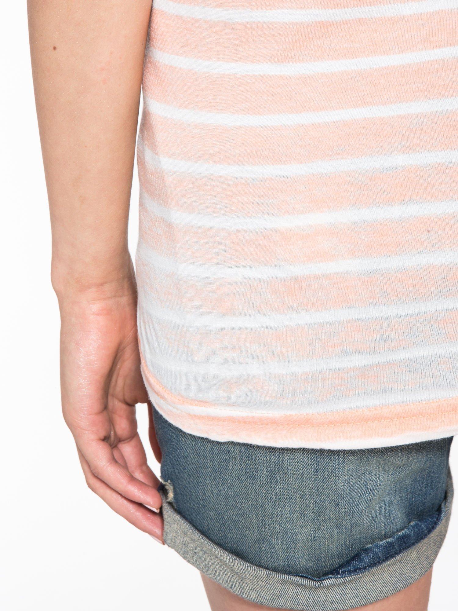 Pomarańczowy t-shirt w paski z napisem FIRENZE TOSCANA                                  zdj.                                  9