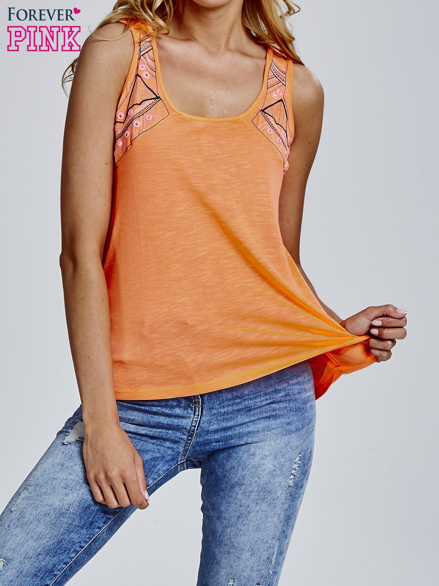 Pomarańczowy top z motywem azteckim na ramiączkach                                  zdj.                                  1