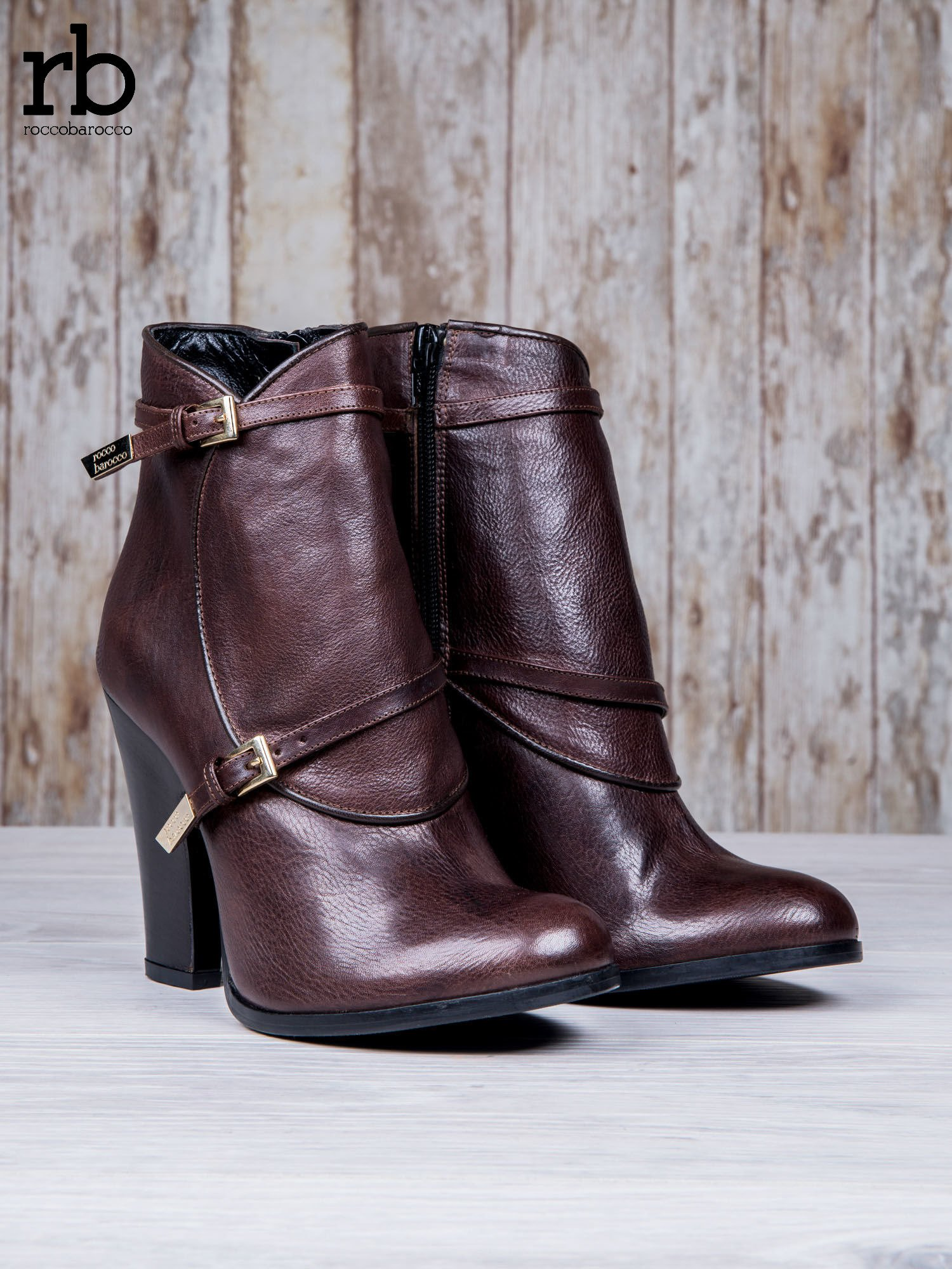 ROCCOBAROCCO Brązowe botki skórzane genuine leather na słupku ze złotymi klamerkami                                  zdj.                                  3
