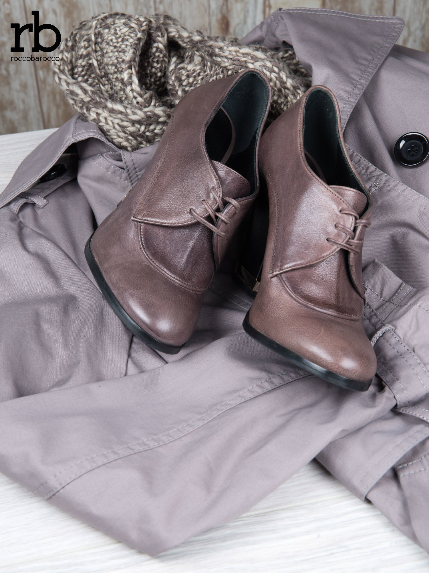 ROCCOBAROCCO Brązowe wiązane botki genuine leather skórzane oxfordki                                  zdj.                                  1