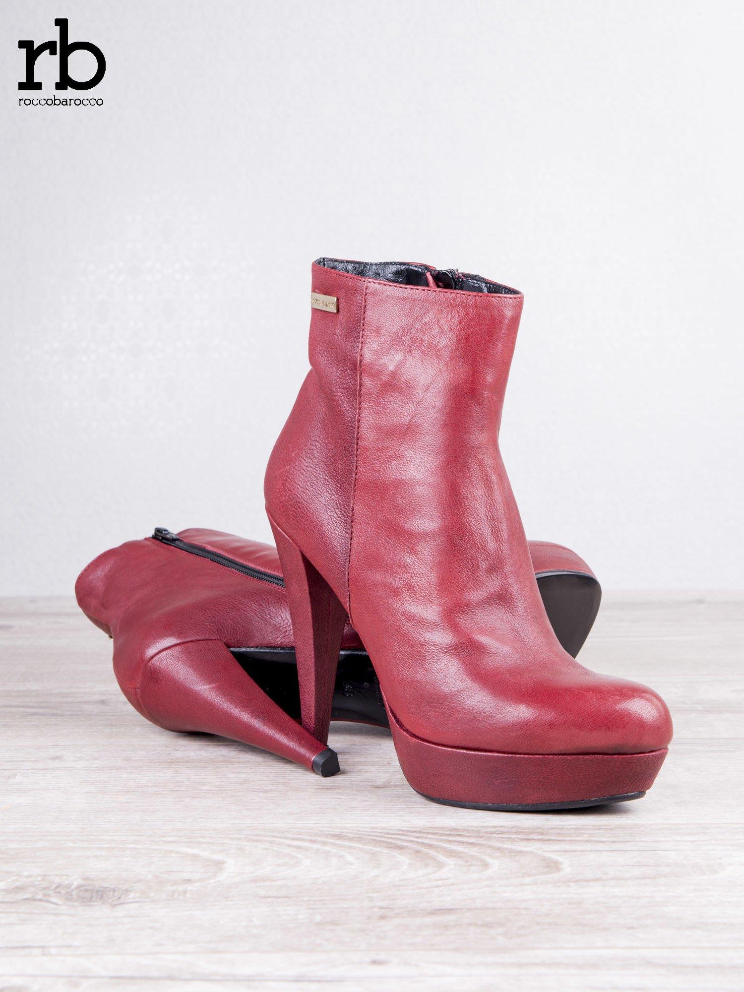 ROCCOBAROCCO czerwone skórzane botki genuine leather na koturnach                                  zdj.                                  3