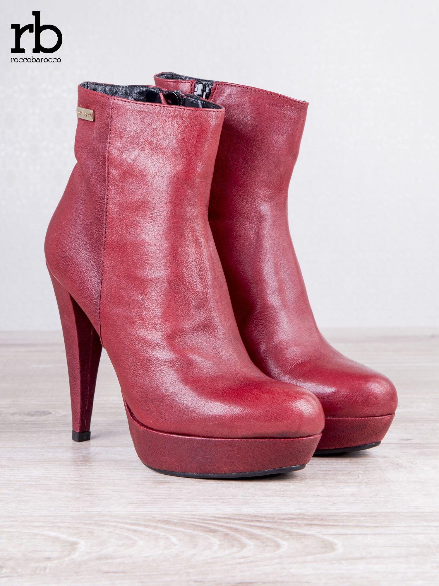 ROCCOBAROCCO czerwone skórzane botki genuine leather na koturnach                                  zdj.                                  6