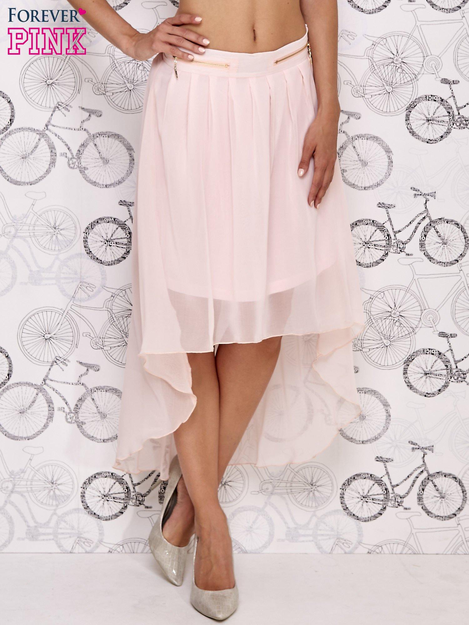 Różowa asymetryczna spódnica z suwakami                                  zdj.                                  3