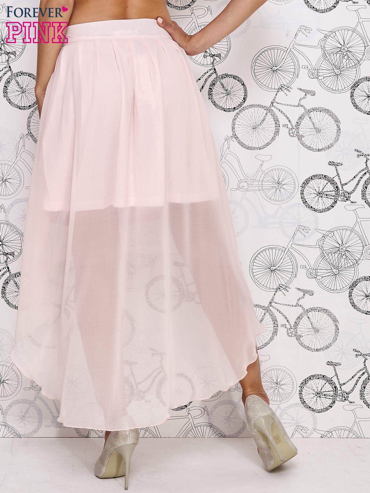 Różowa asymetryczna spódnica z suwakami                                  zdj.                                  4