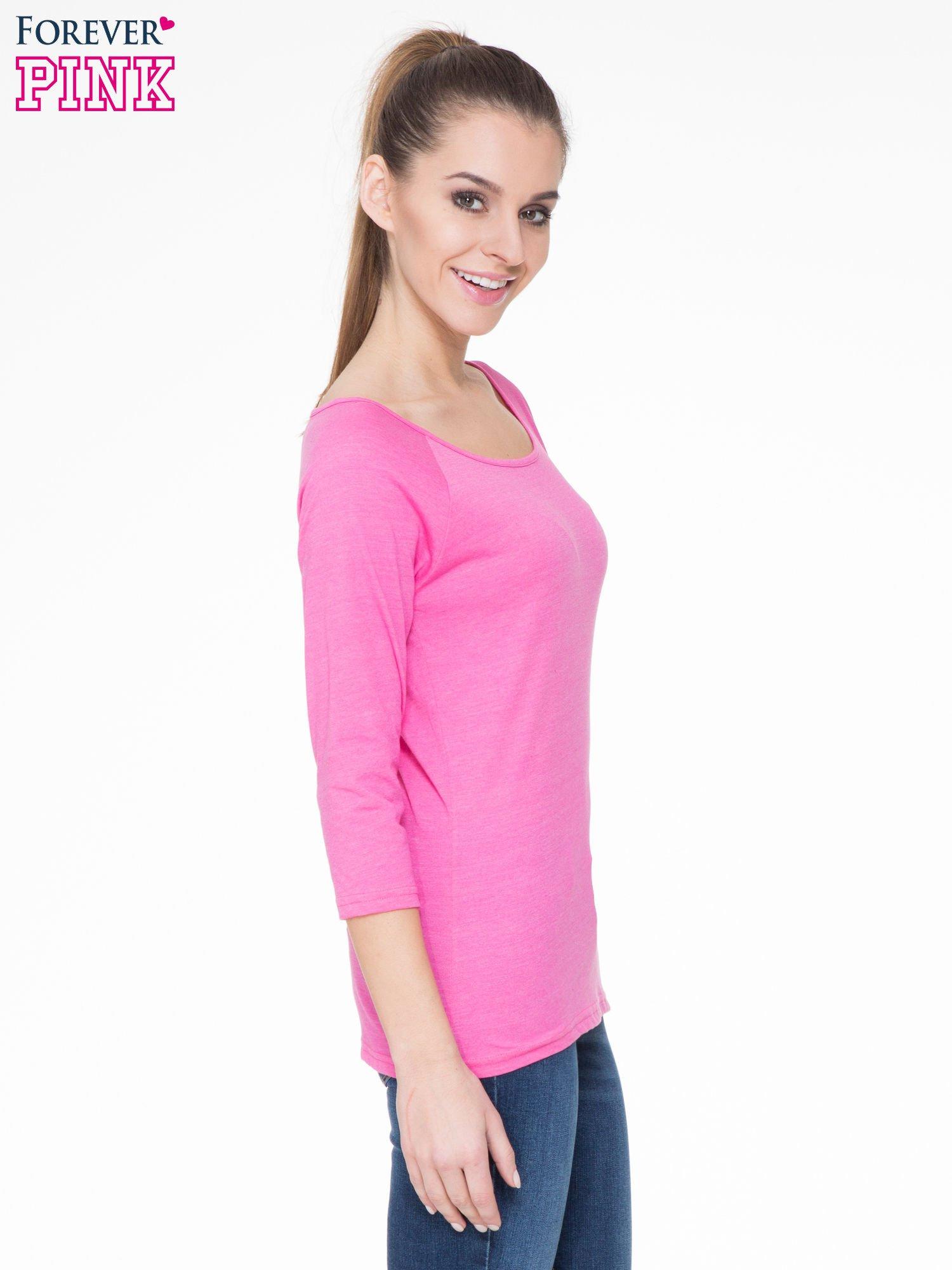 Różowa basicowa gładka bluzka z rękawem 7/8                                  zdj.                                  3