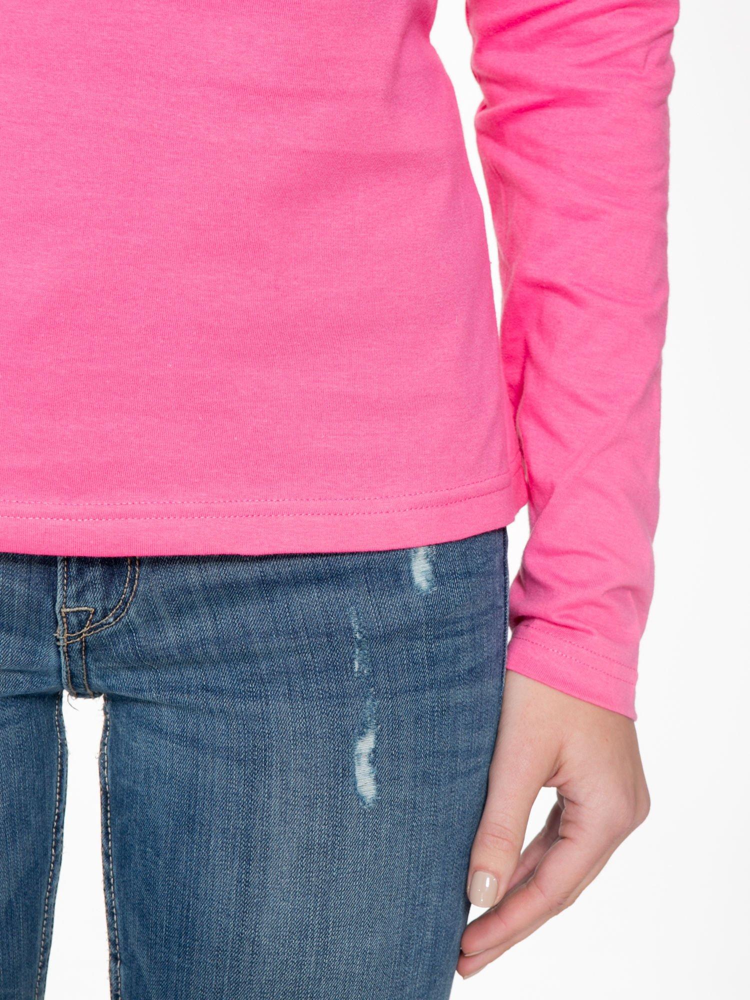 Różowa bawełniana bluzka typu basic z długim rękawem                                  zdj.                                  6