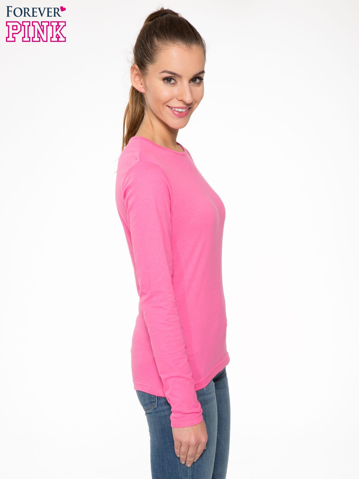 Różowa bawełniana bluzka typu basic z długim rękawem                                  zdj.                                  3