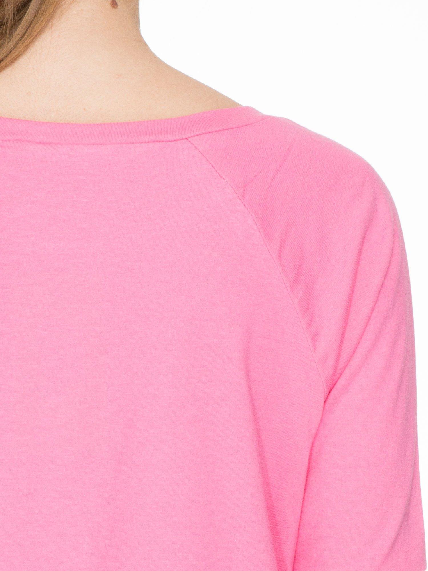 Różowa bawełniana bluzka z rękawami typu reglan                                  zdj.                                  7