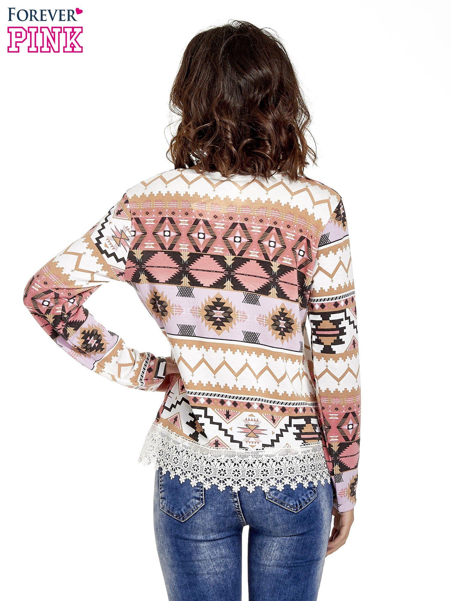 Różowa bluza w azteckie wzory z koronką                                  zdj.                                  4
