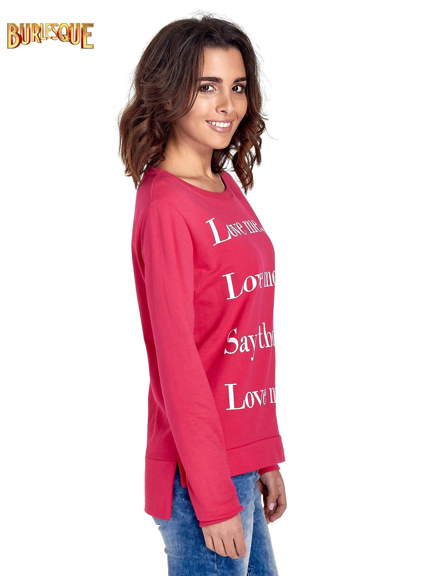 Różowa bluza z napisem LOVE ME i dłuższym tyłem                                  zdj.                                  3