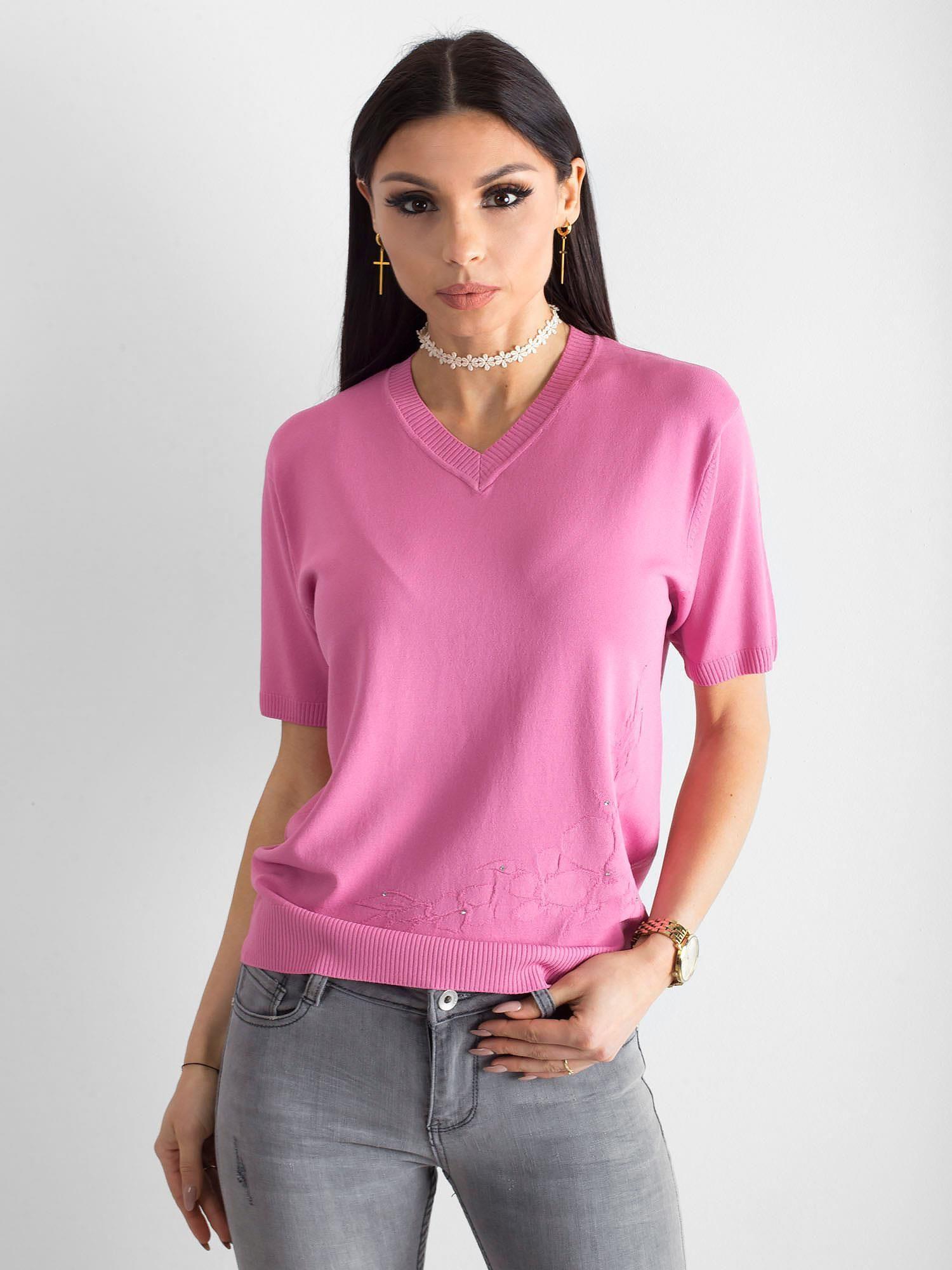 74dc35334d01b5 Różowa bluzka V-neck - Bluzka na co dzień - sklep eButik.pl