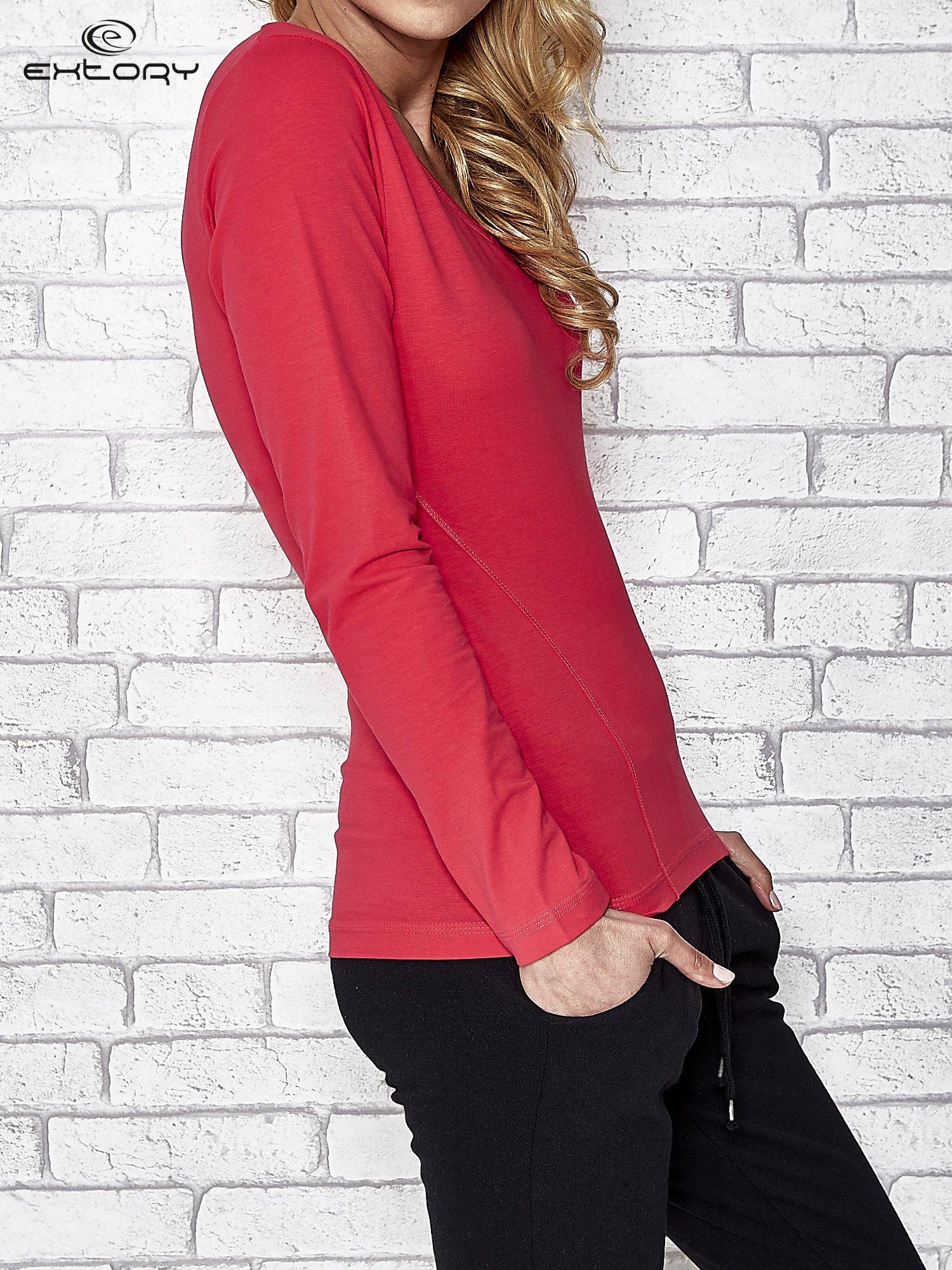 Różowa bluzka sportowa z dekoltem V                                  zdj.                                  3