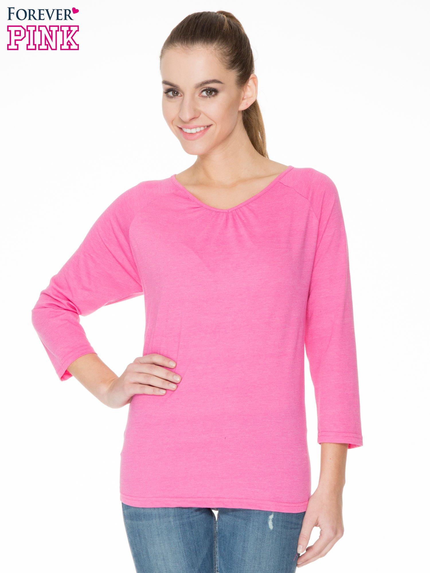 Różowa bluzka z marszczonym dekoltem i rękawkami 3/4                                  zdj.                                  1