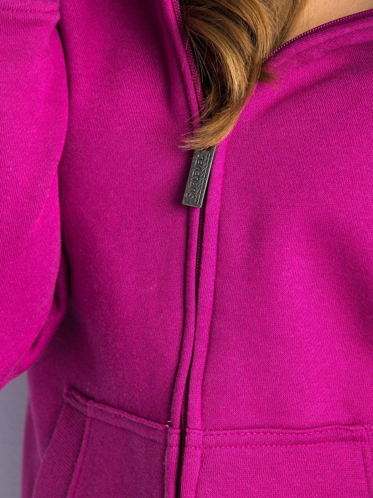 Różowa dresowa bluza sportowa z kapturem                                  zdj.                                  6