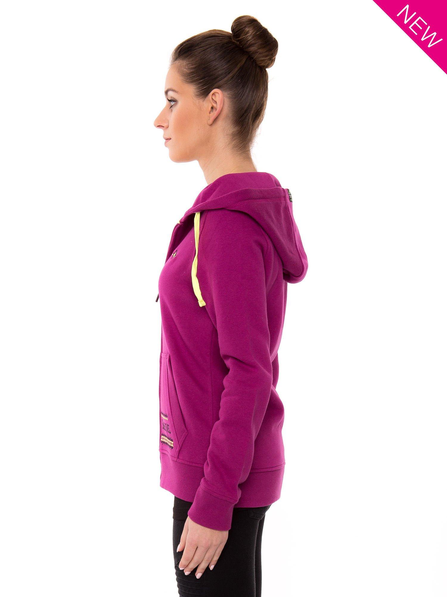 Różowa dresowa bluza sportowa z kapturem                                  zdj.                                  3