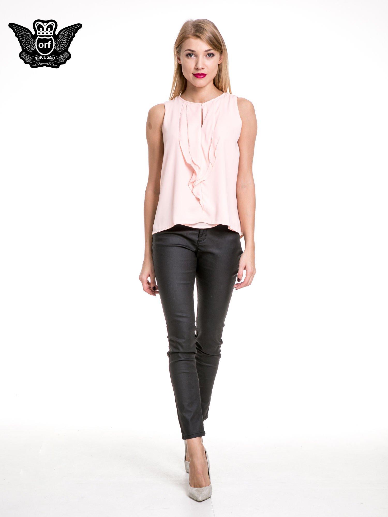 Różowa elegancka koszula z żabotem                                  zdj.                                  2