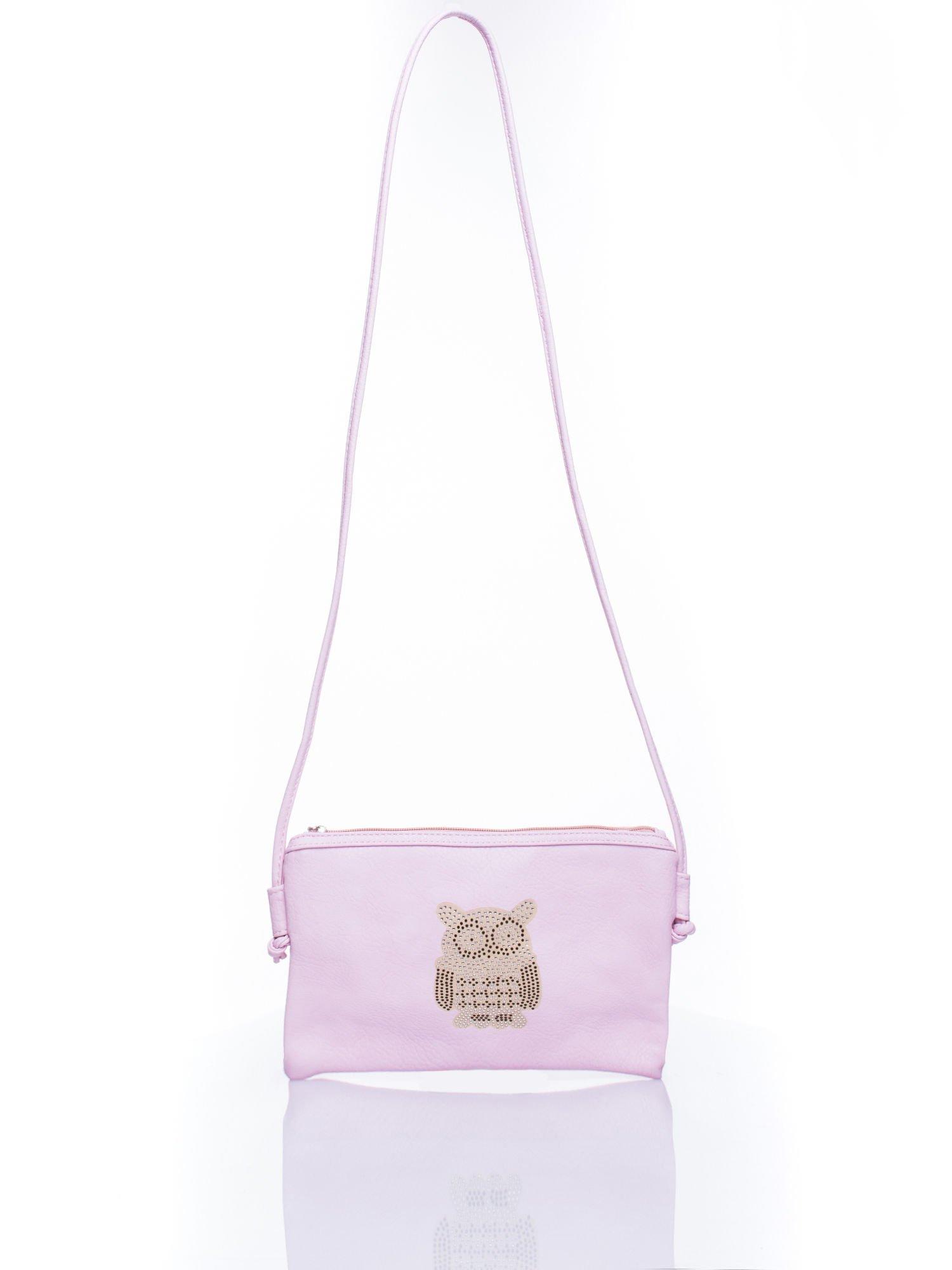 Różowa kopertówka z dżetami motyw sowy                                  zdj.                                  5