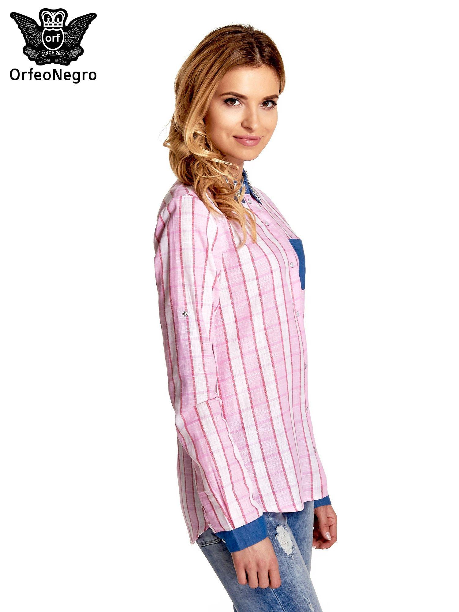 Różowa koszula w kratę z kołnierzykiem, mankietami i kieszonką z ciemnego denimu                                  zdj.                                  3