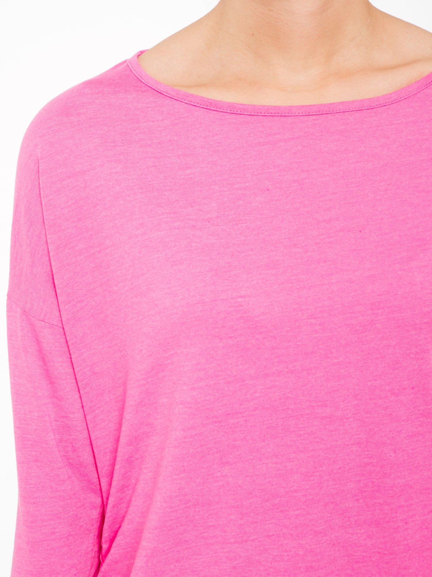 Różowa luźna bluzka z rękawem 3/4                                  zdj.                                  5