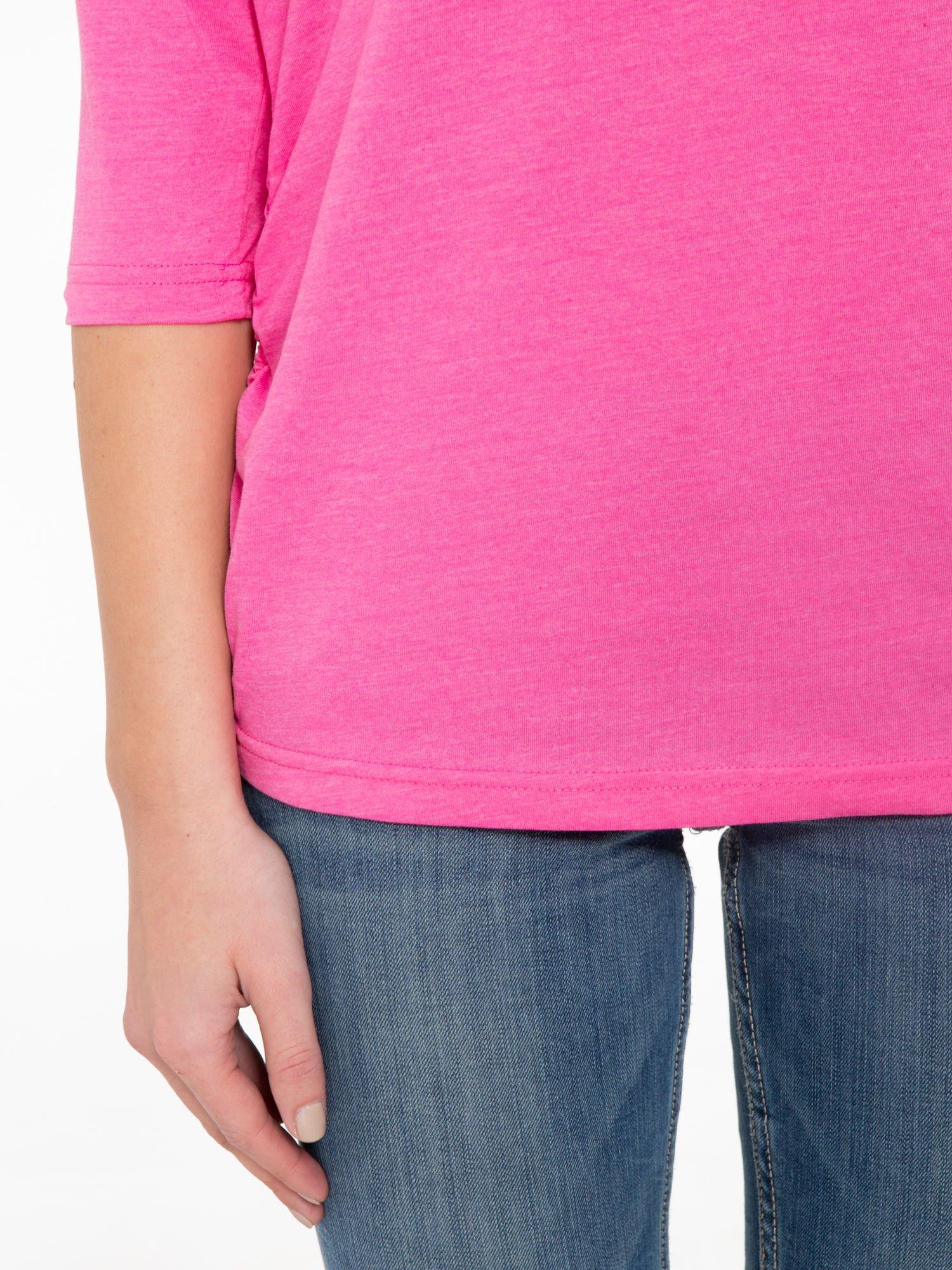 Różowa luźna bluzka z rękawem 3/4                                  zdj.                                  6