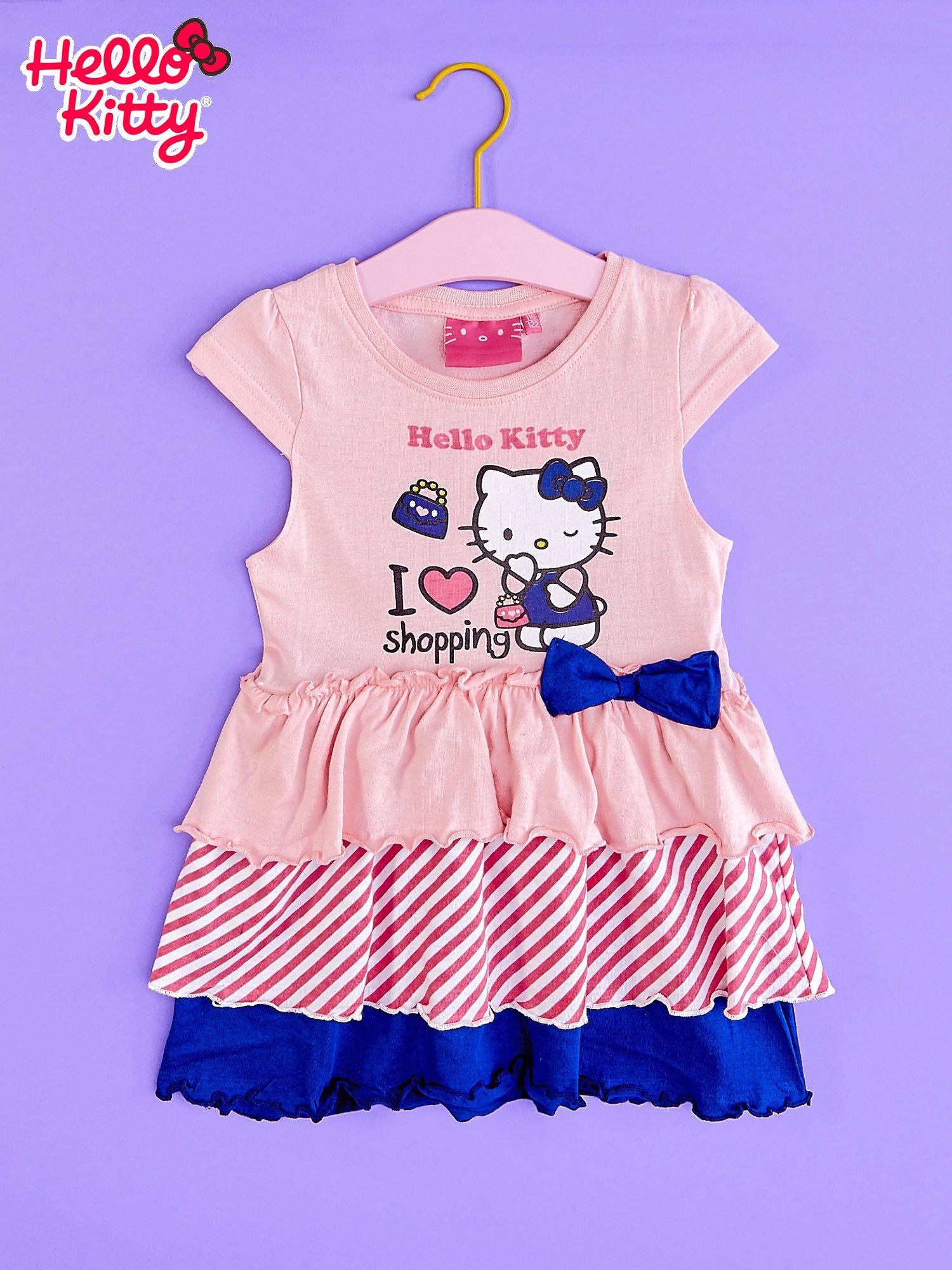 Różowa sukienka dla dziewczynki z kolorowymi falbankami HELLO KITTY                                  zdj.                                  1
