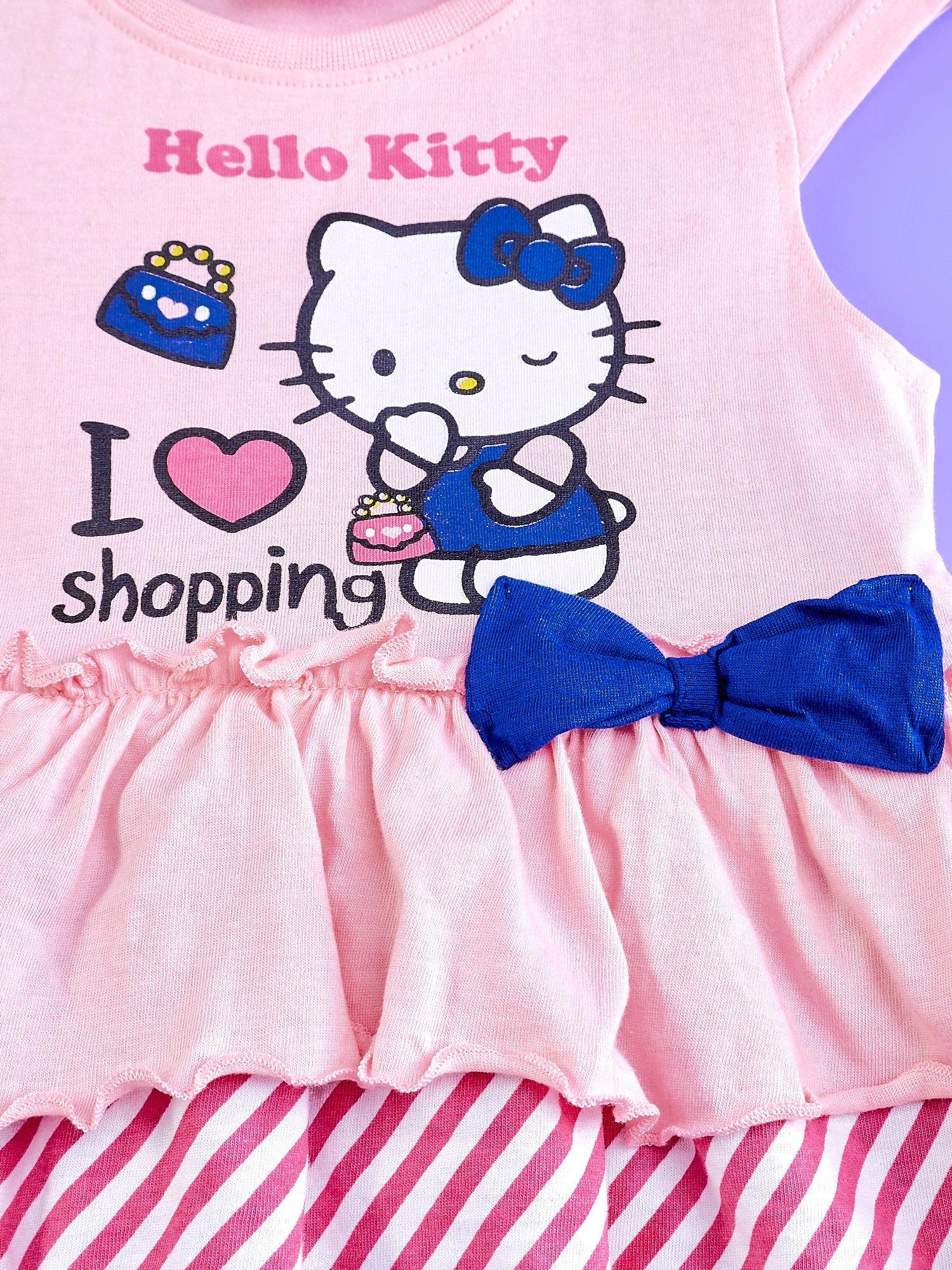 Różowa sukienka dla dziewczynki z kolorowymi falbankami HELLO KITTY                                  zdj.                                  4