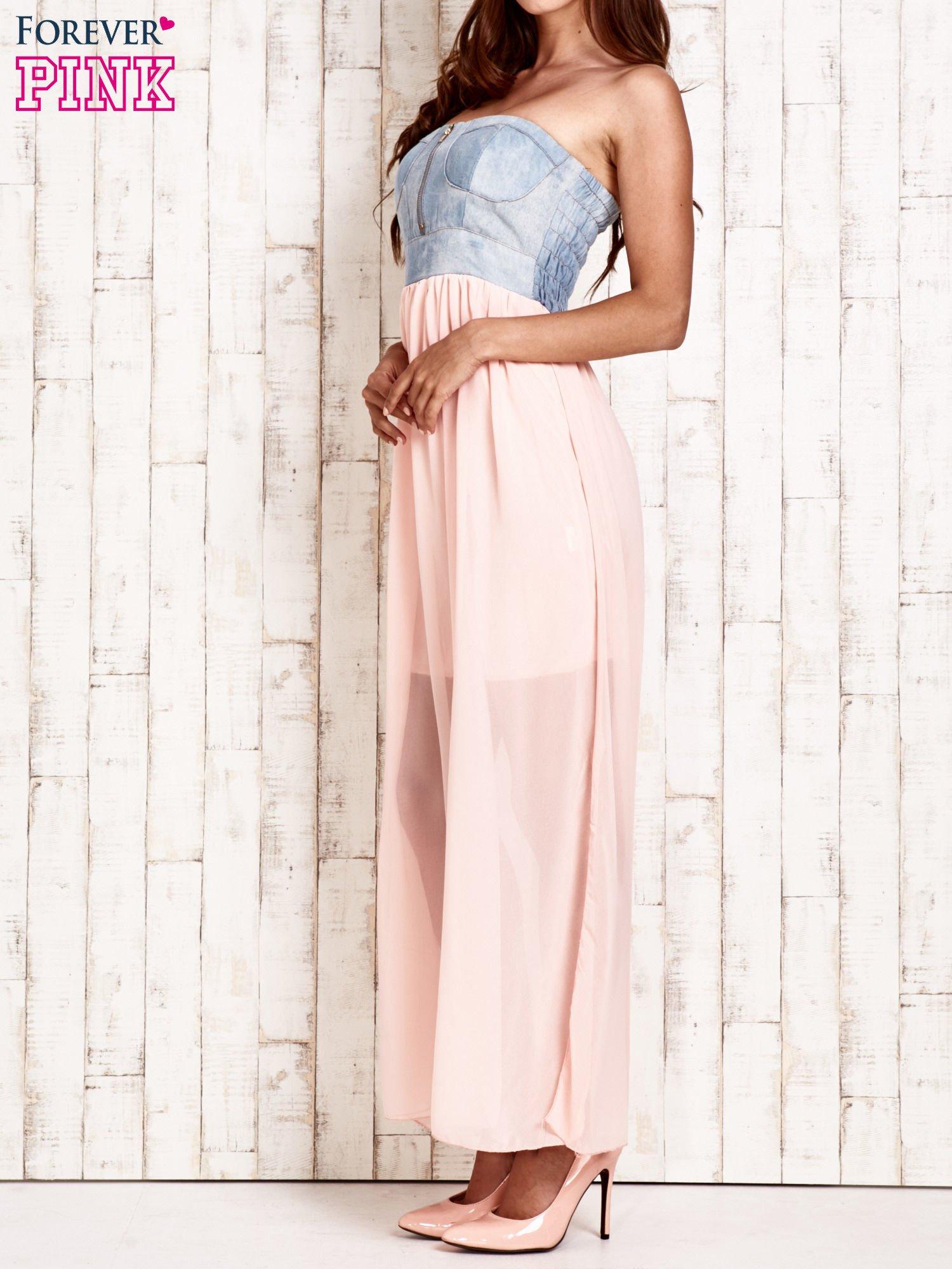 Różowa sukienka maxi z gorsetem z denimu                                  zdj.                                  3