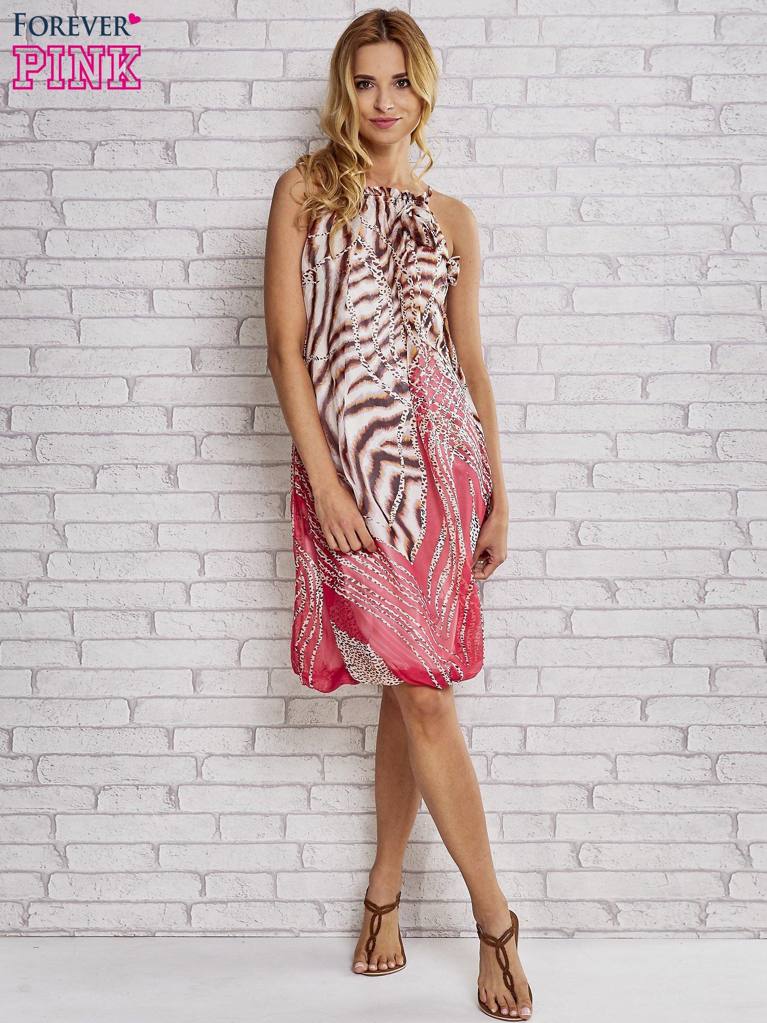 Różowa sukienka wzór leopard print                                  zdj.                                  4