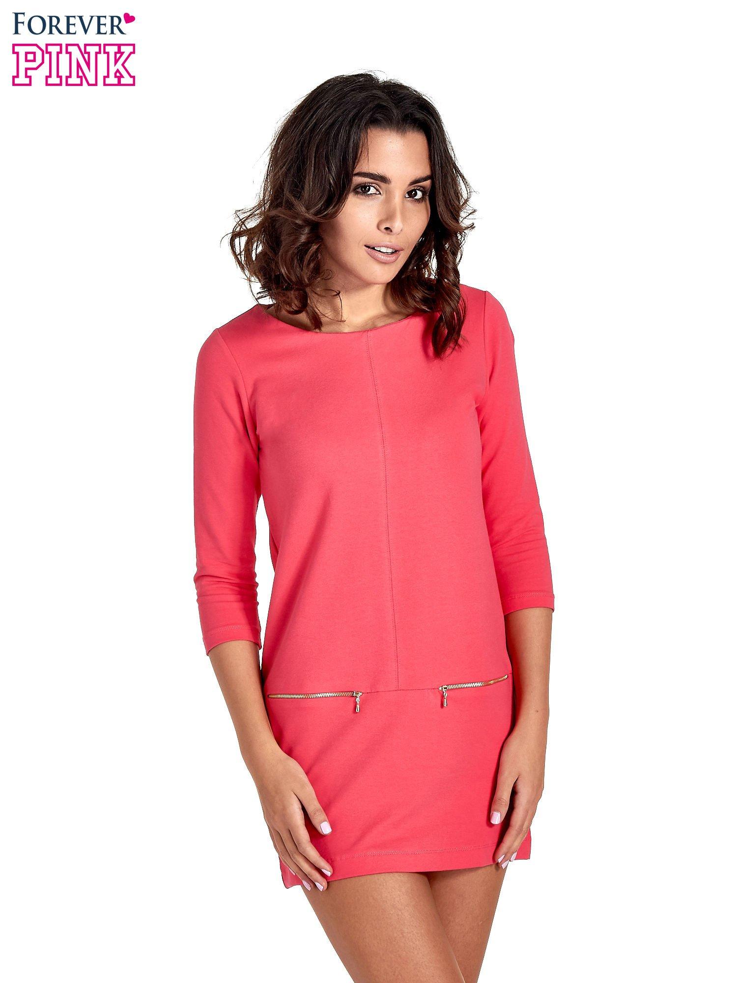 Różowa sukienka ze złotymi suwakami                                  zdj.                                  1