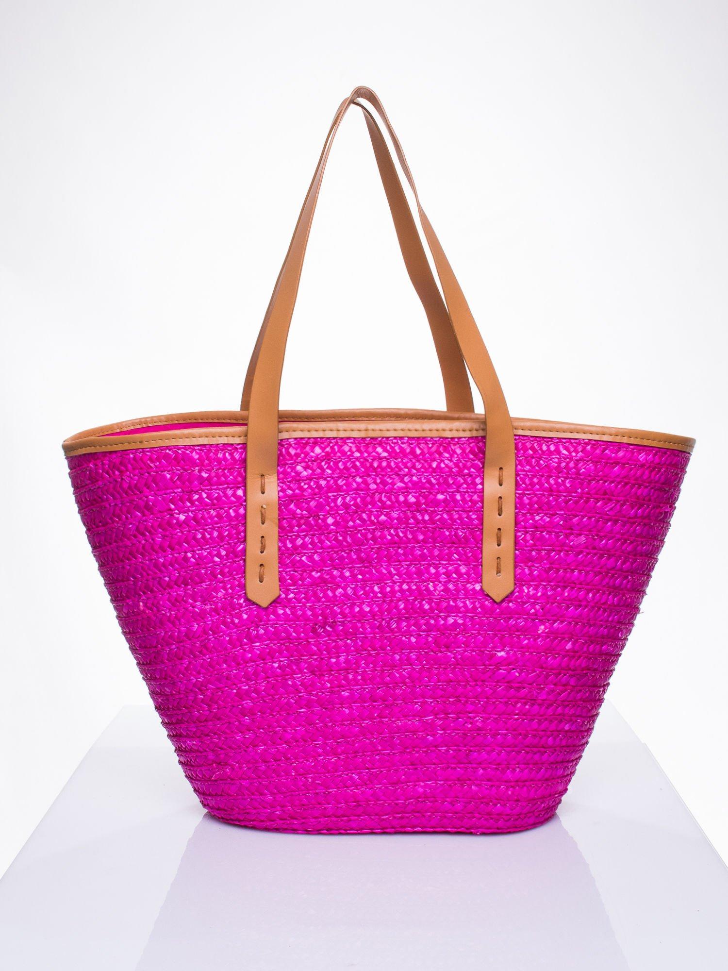 Różowa torba koszyk plażowy ze skórzanymi rączkami                                  zdj.                                  3