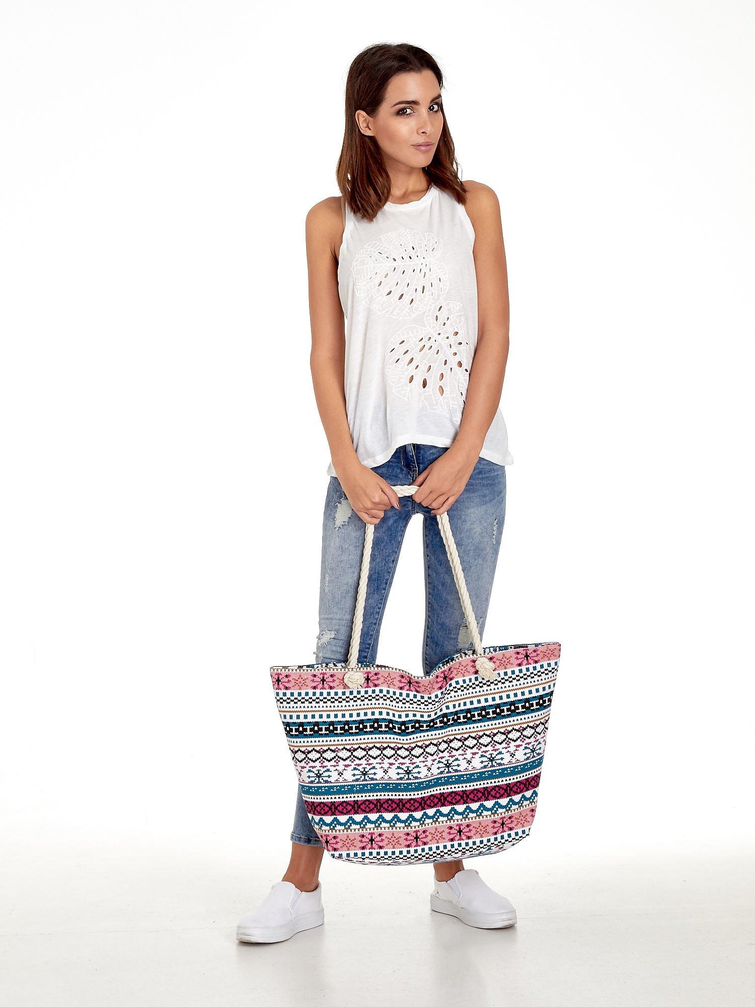 Różowa torba plażowa w azteckie wzory                                  zdj.                                  11