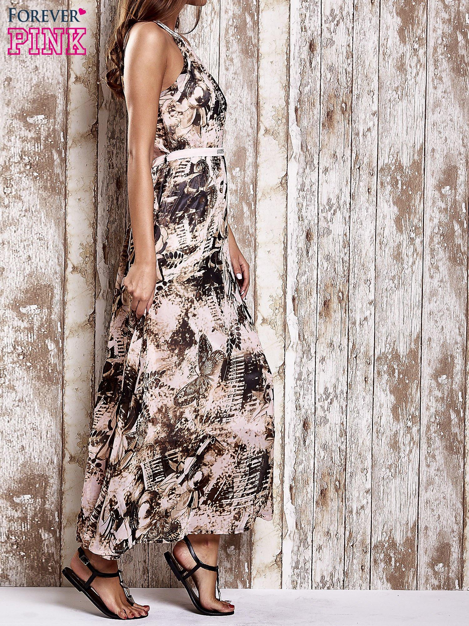 Różowa wzorzysta sukienka maxi z dżetami                                   zdj.                                  3