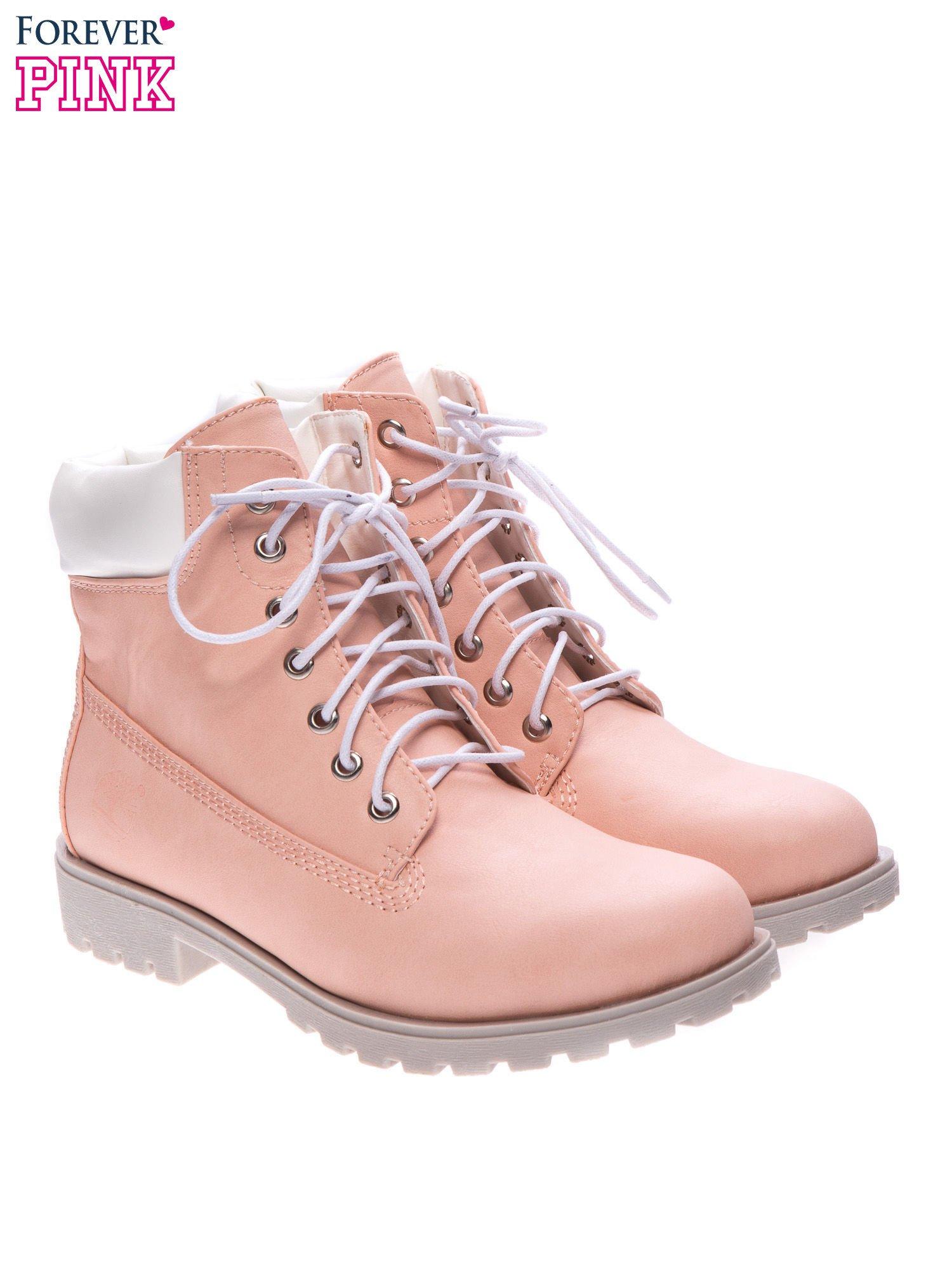 Różowe buty trekkingowe damskie typu timberki                                  zdj.                                  2