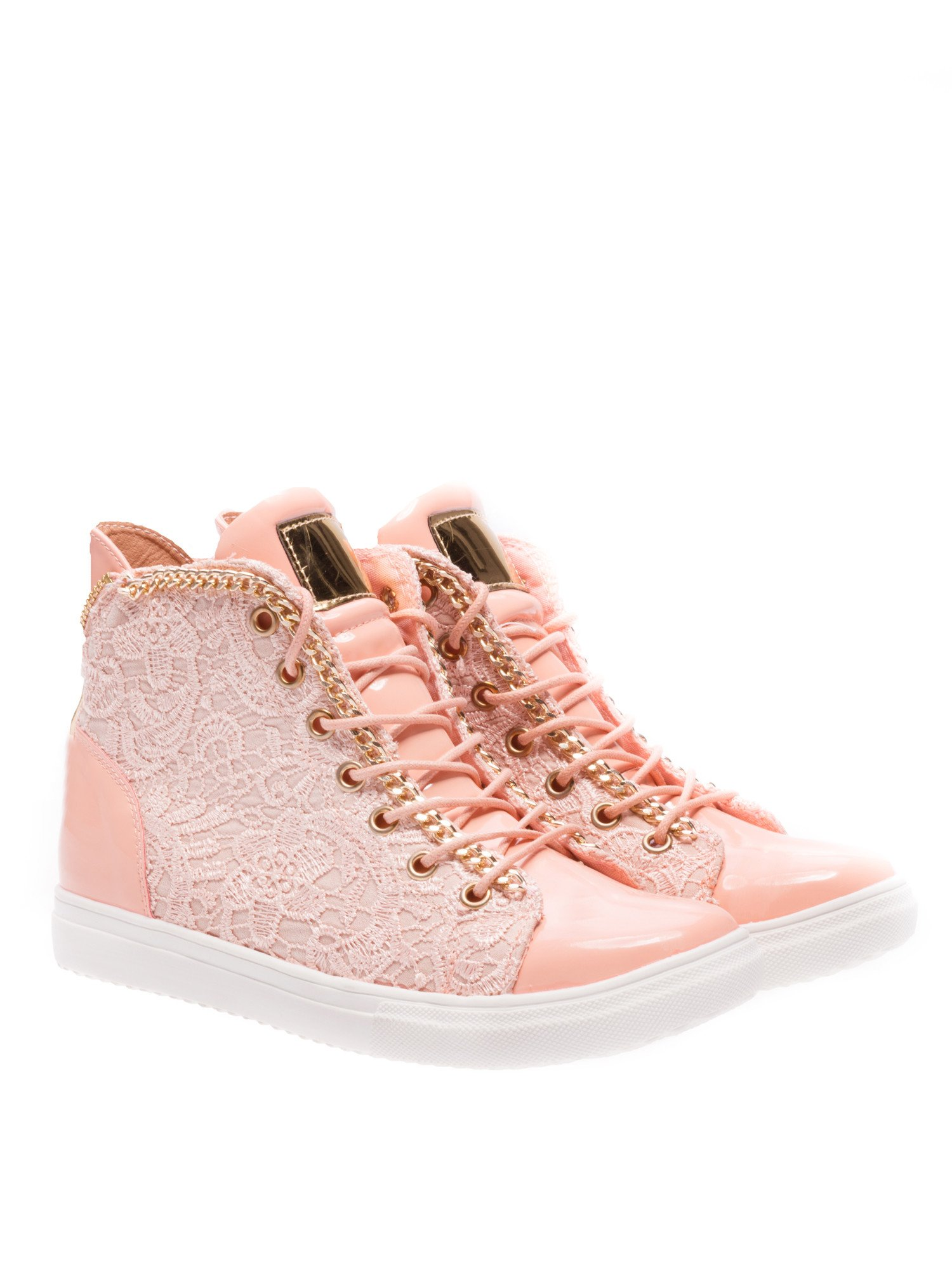 Różowe koronkowe sneakersy z łańcuszkiem                                  zdj.                                  2